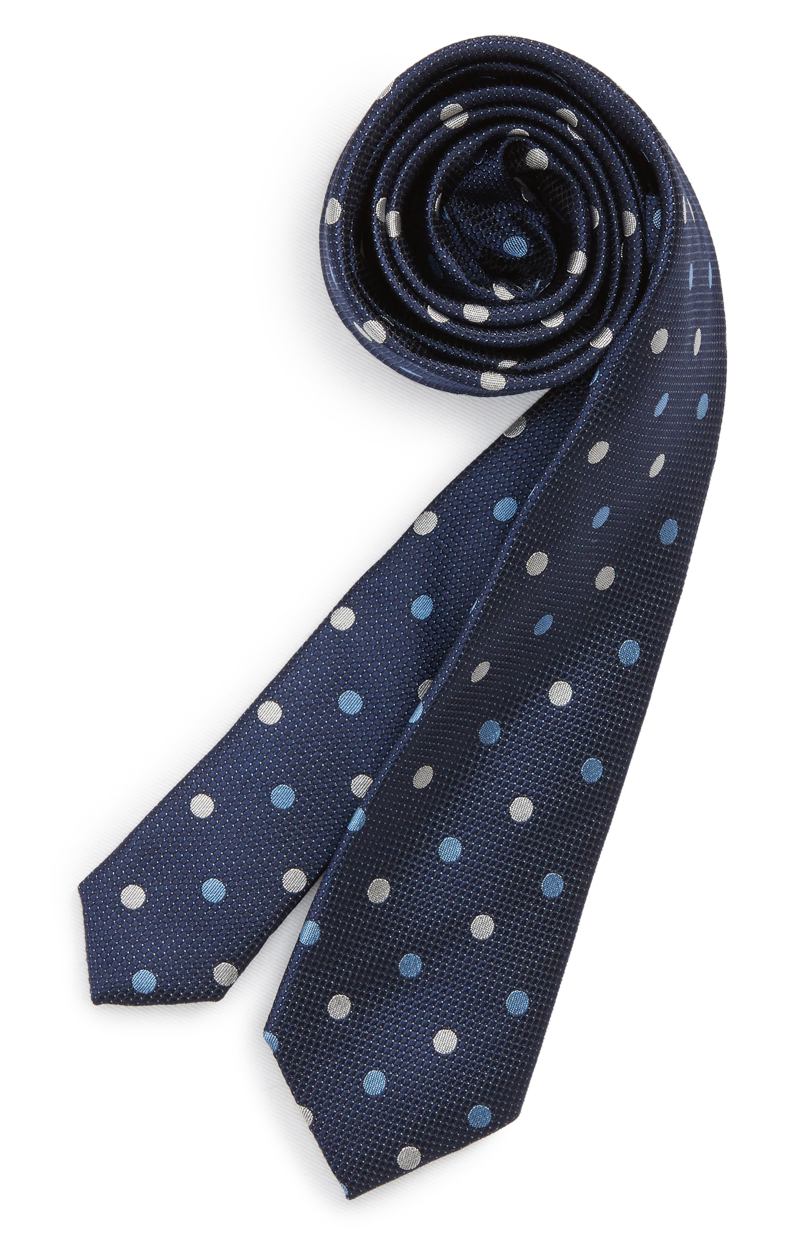 Polka Dot Silk Tie,                             Main thumbnail 1, color,                             411