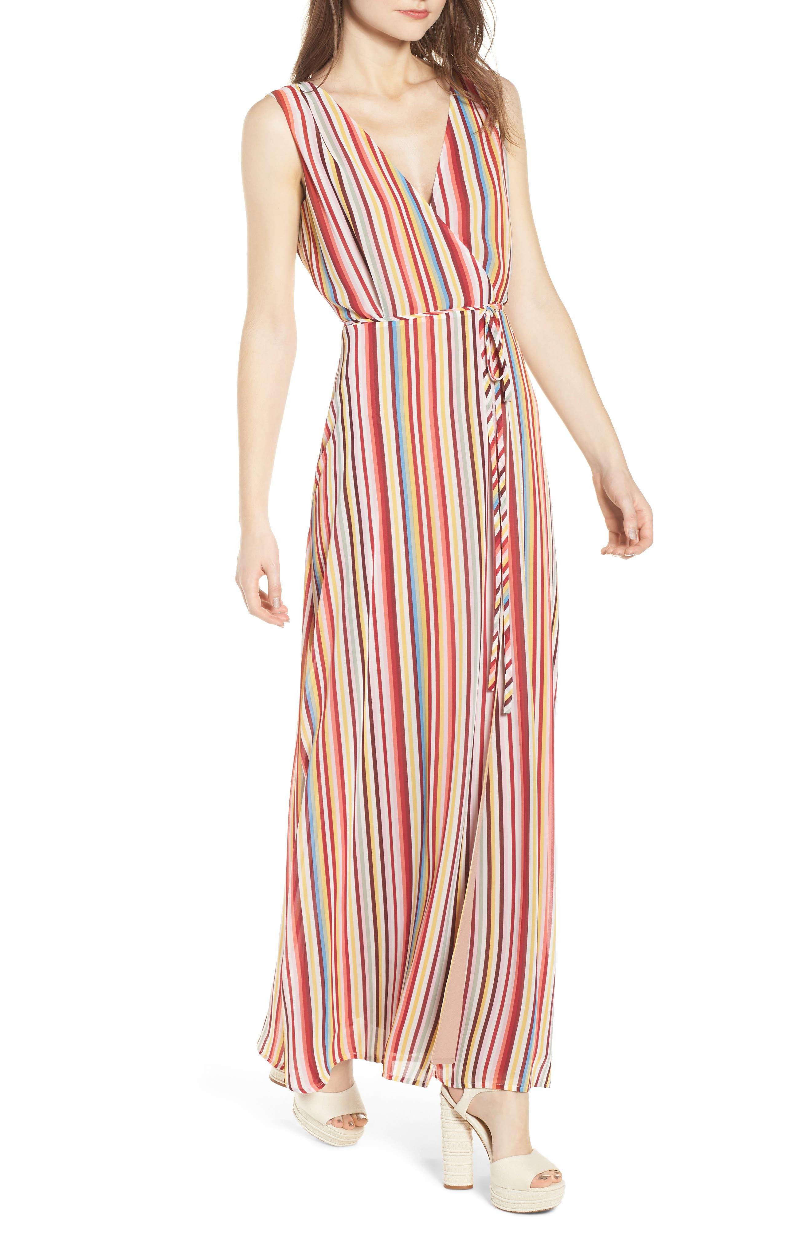 Bobby Wrap Maxi Dress,                             Main thumbnail 1, color,                             Red Multi Stripe