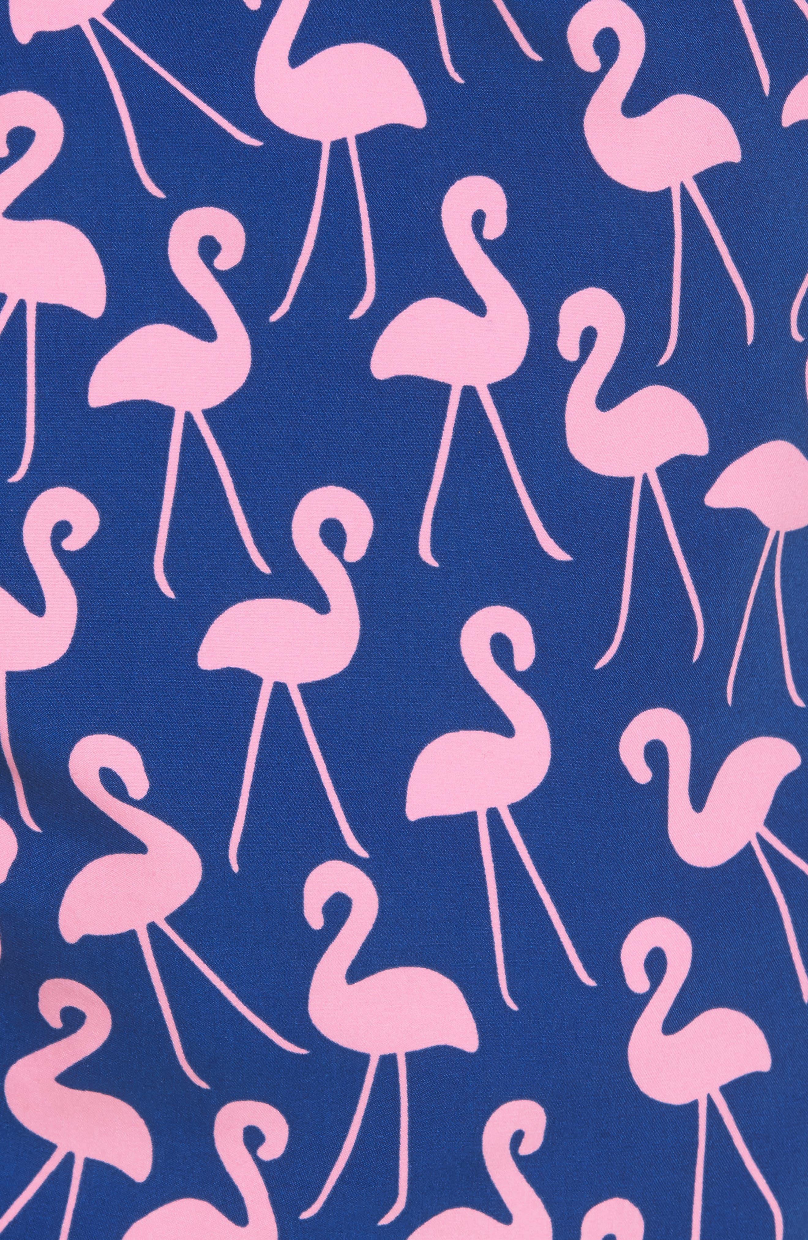 Flamingo Print Swim Trunks,                             Alternate thumbnail 5, color,                             Rose / Blue