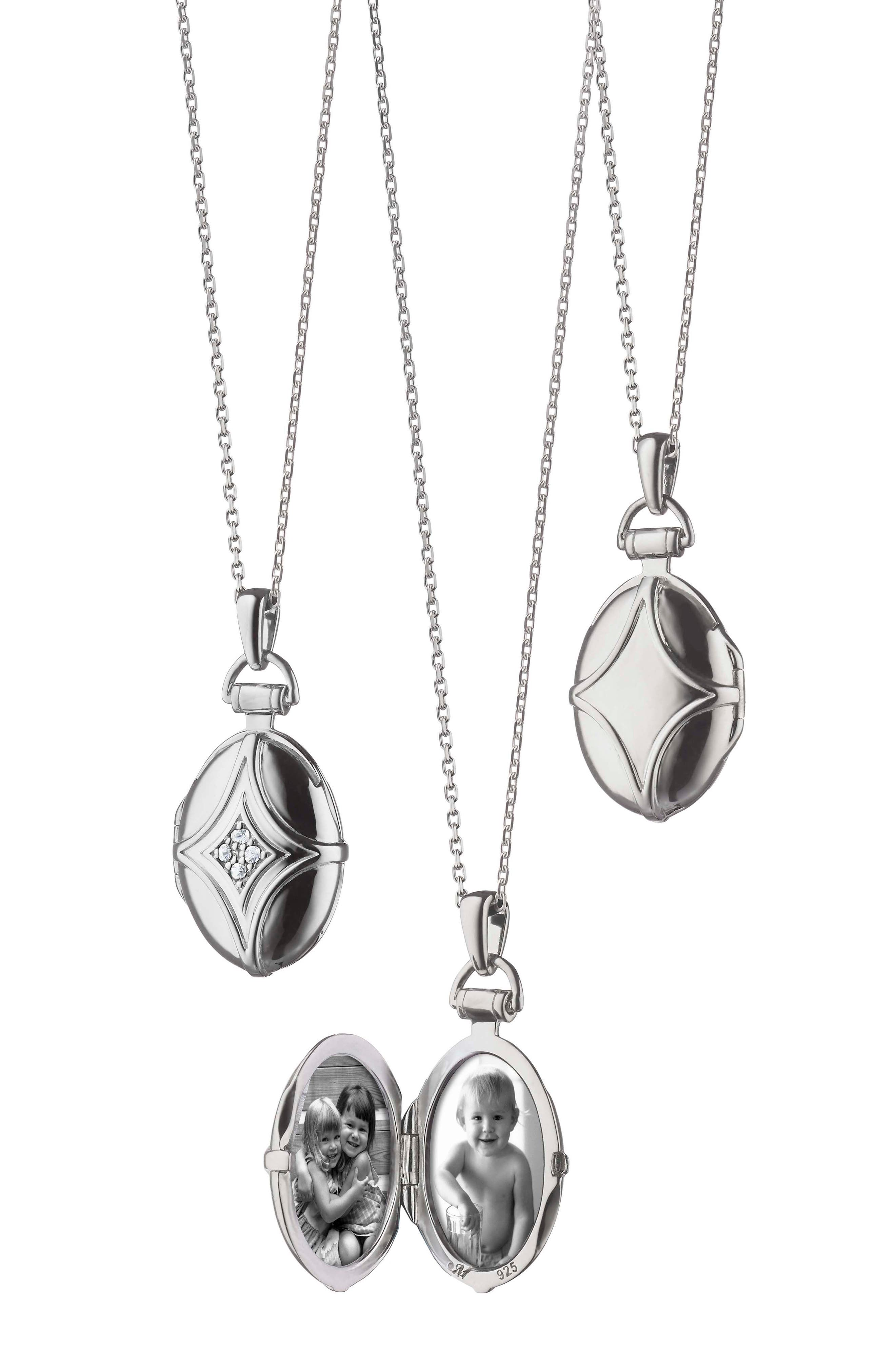 White Sapphire Bridle Locket Necklace,                             Alternate thumbnail 5, color,                             Sterling Silver
