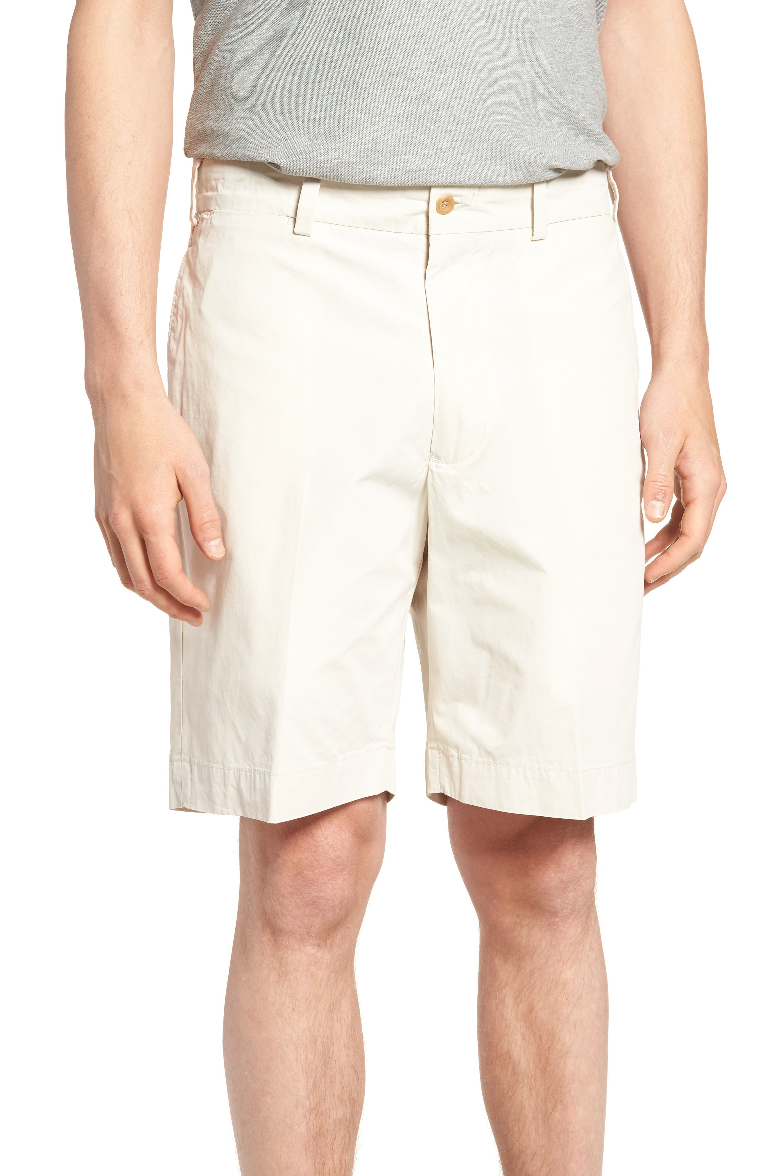 M2 Standard Fit Flat Front Tropical Cotton Poplin Shorts,                         Main,                         color, Sand