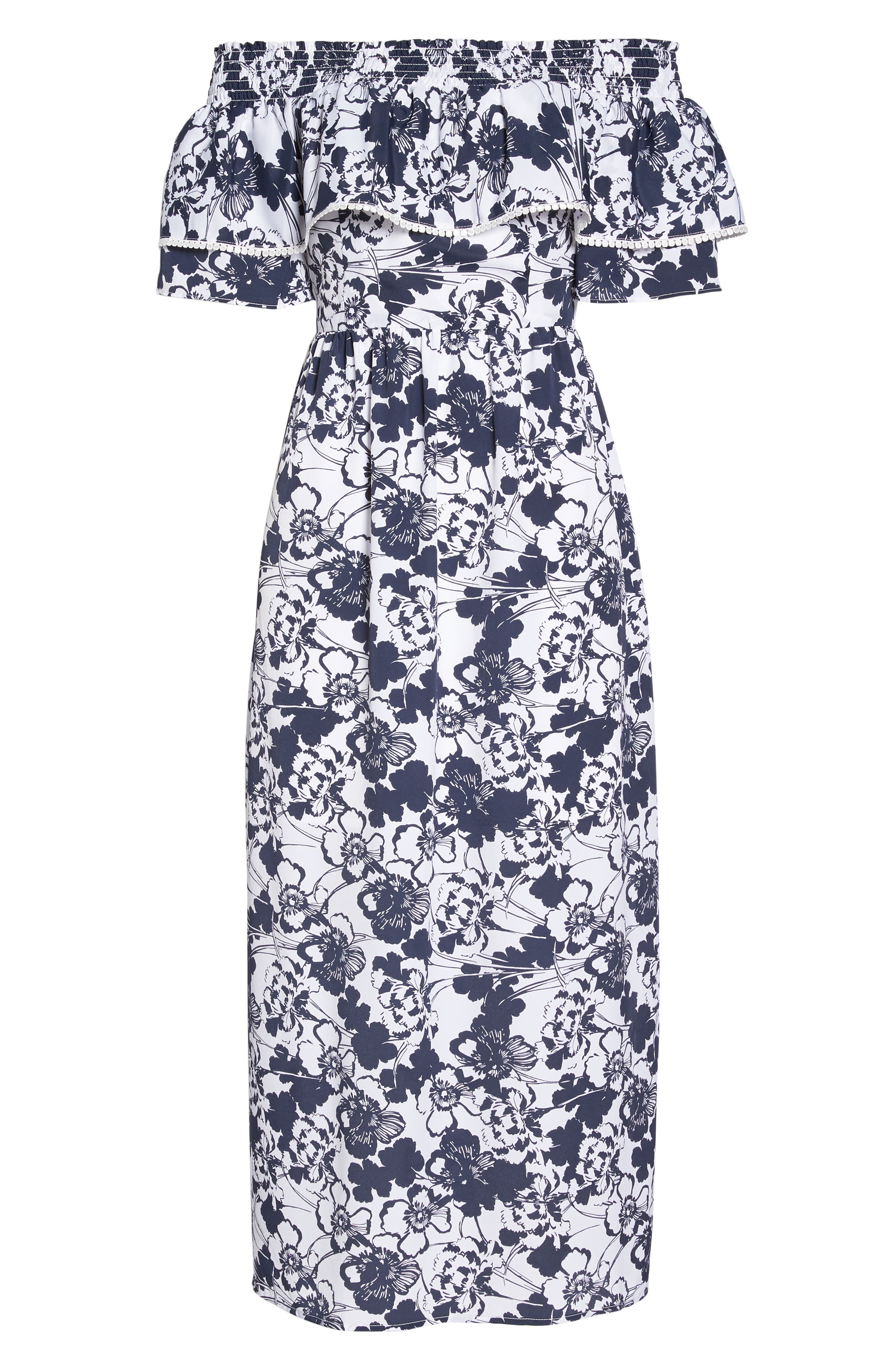 Off the Shoulder Ruffle Maxi Dress,                             Alternate thumbnail 8, color,                             Navy Ivory Floral Print