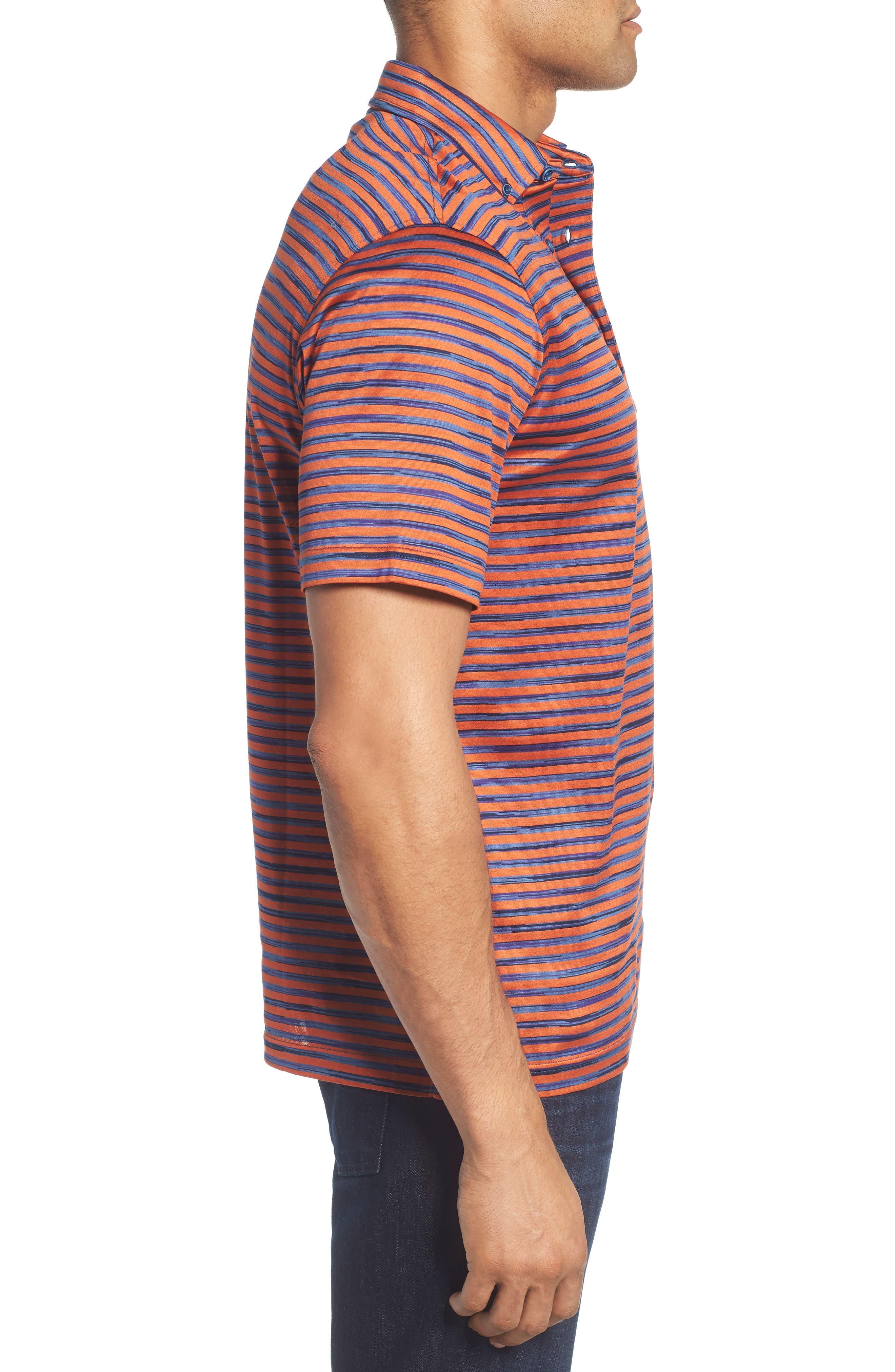 Stripe Knit Polo,                             Alternate thumbnail 3, color,                             Tangerine