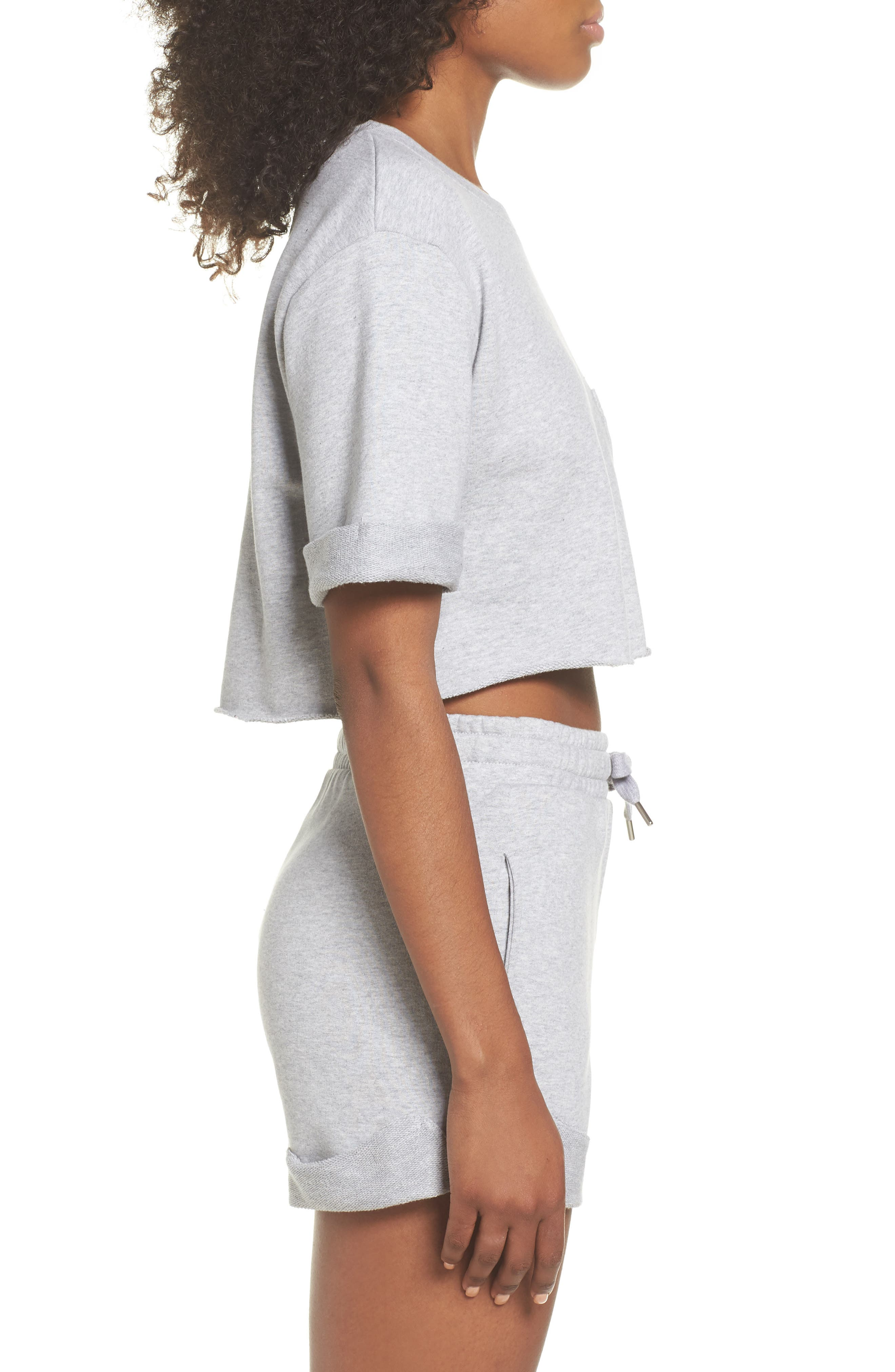 French Terry Crop Sweatshirt,                             Alternate thumbnail 3, color,                             Light Grey Marl