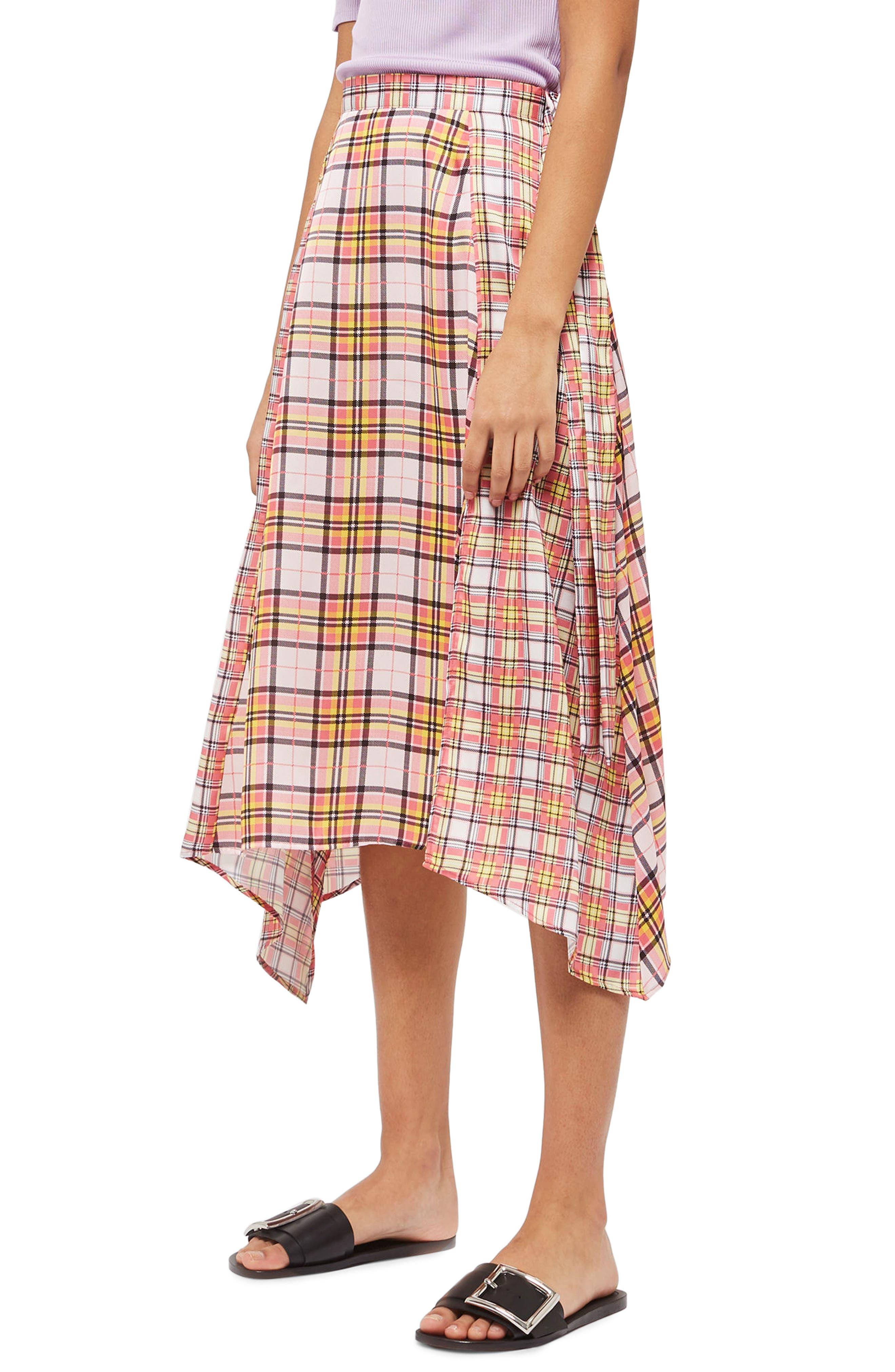 Mixed Check Midi Skirt,                         Main,                         color, Pink Multi