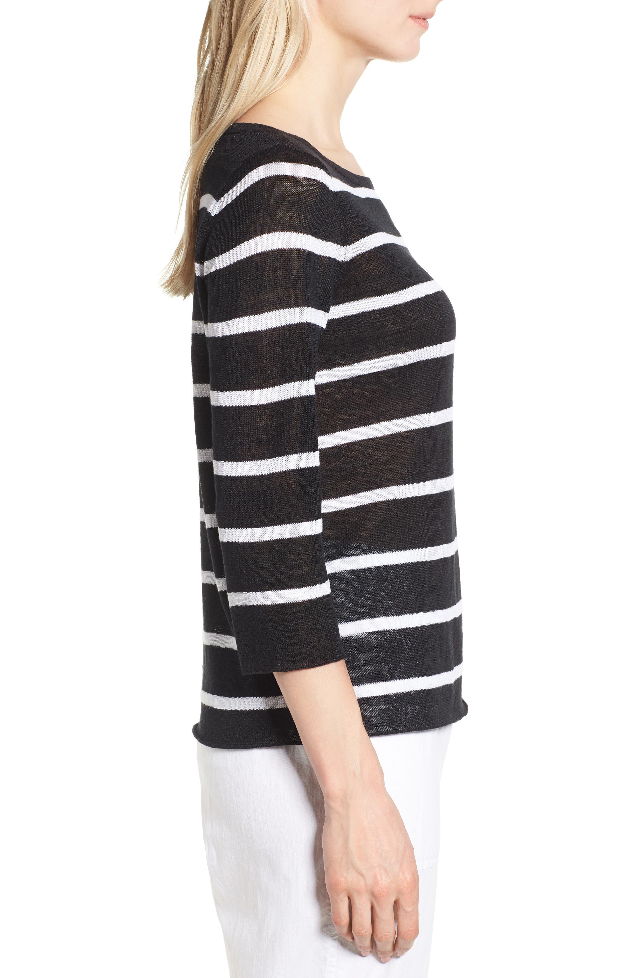 Stripe Organic Linen Sweater,                             Alternate thumbnail 3, color,                             Black/ White