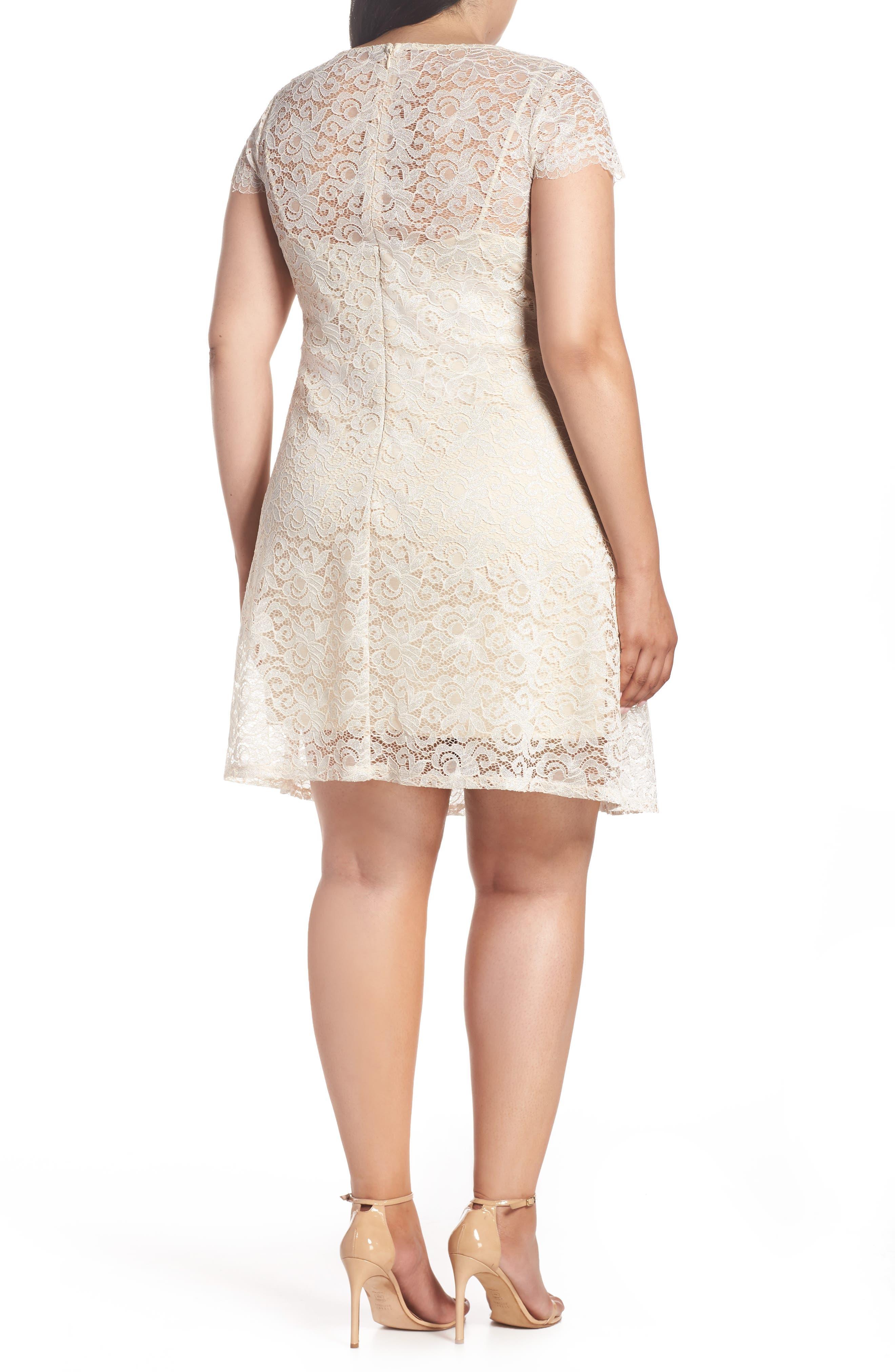 Lace A-Line Dress,                             Alternate thumbnail 2, color,                             Taupe