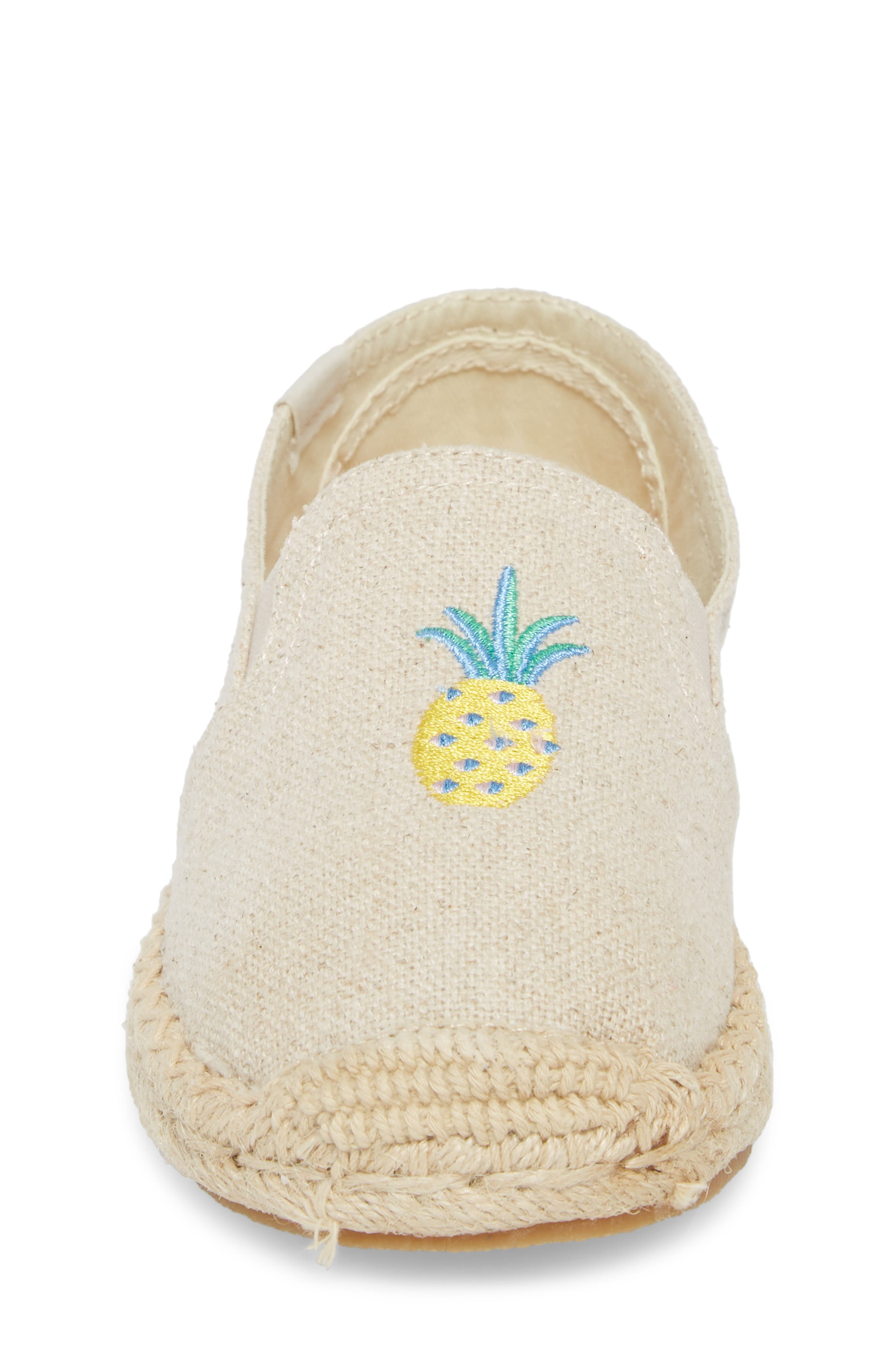 Pineapple Embroidered Espadrille,                             Alternate thumbnail 4, color,                             Sand