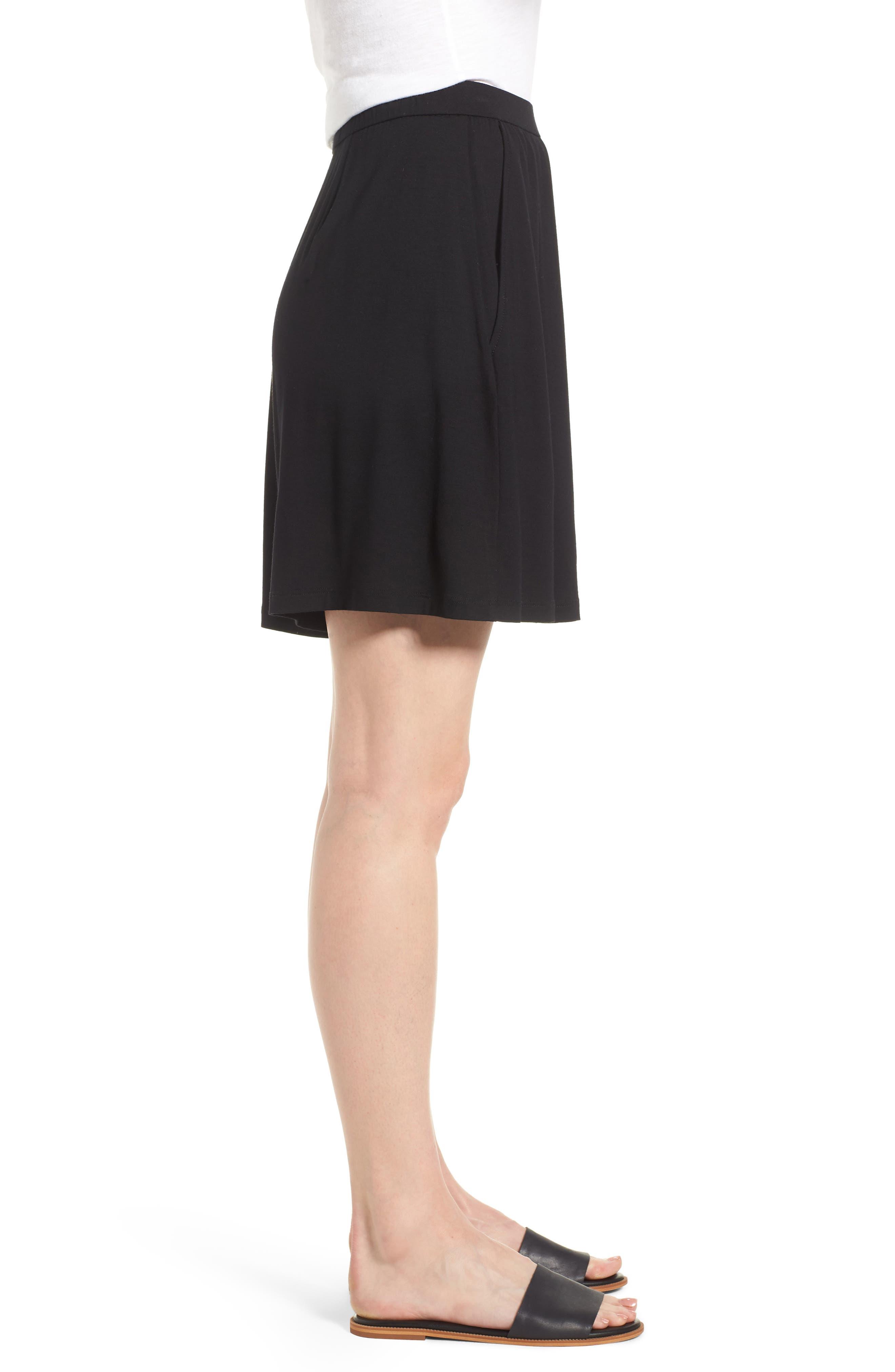 Pleated Jersey Walking Shorts,                             Alternate thumbnail 3, color,                             Black