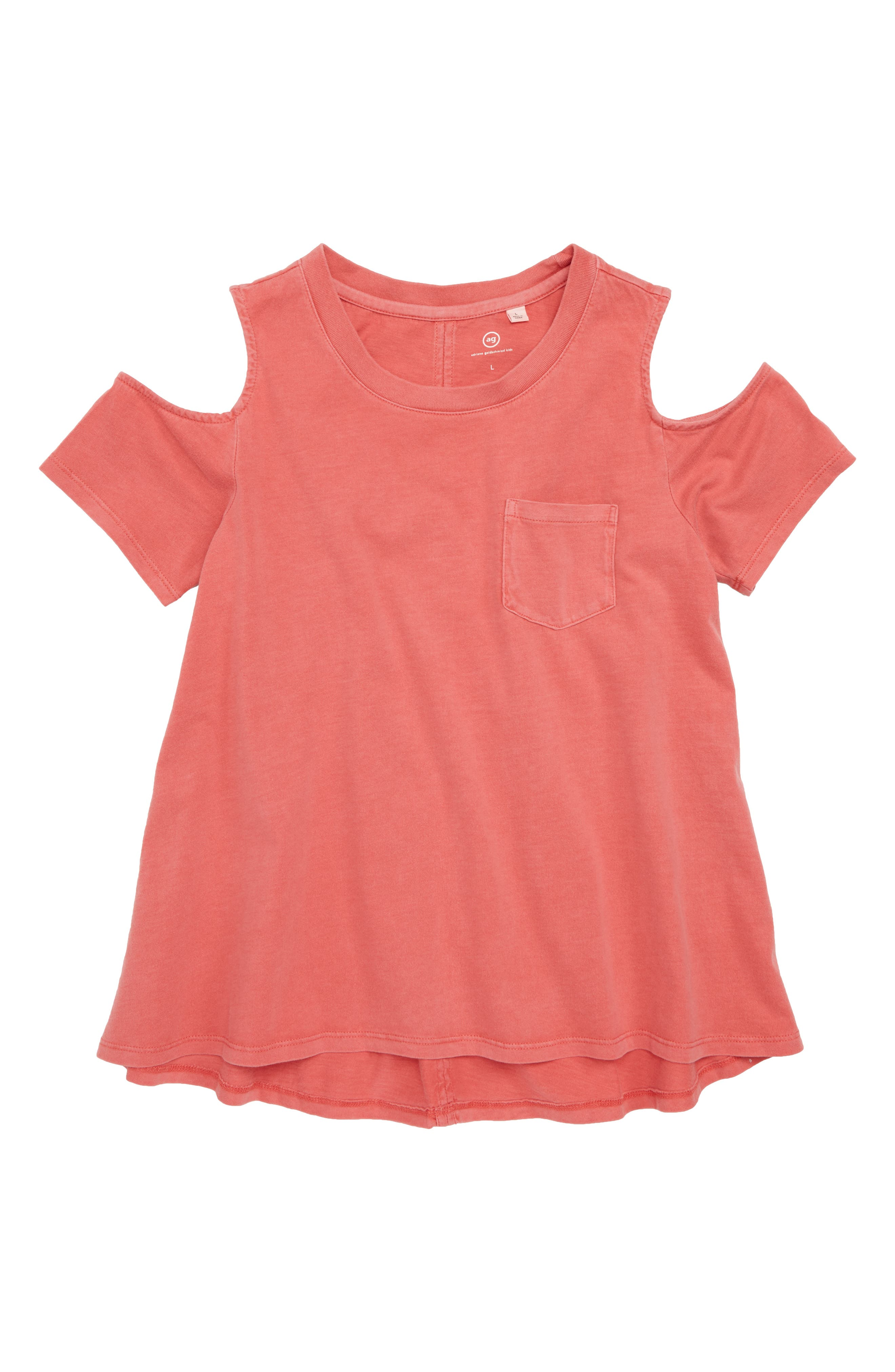adriano goldschmied kids Tess Cold Shoulder Top,                             Main thumbnail 1, color,                             Flame