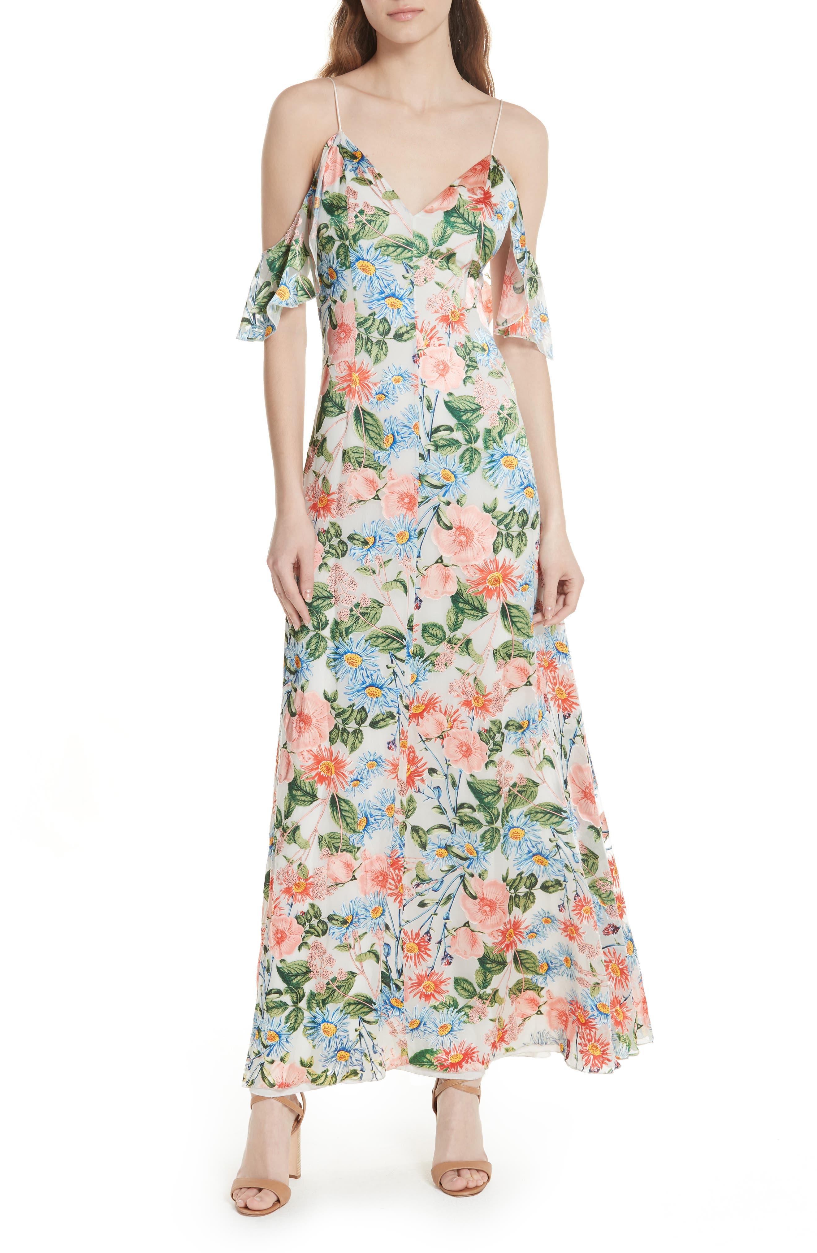 Alice + Olivia Alves Floral Cold Shoulder Maxi Dress