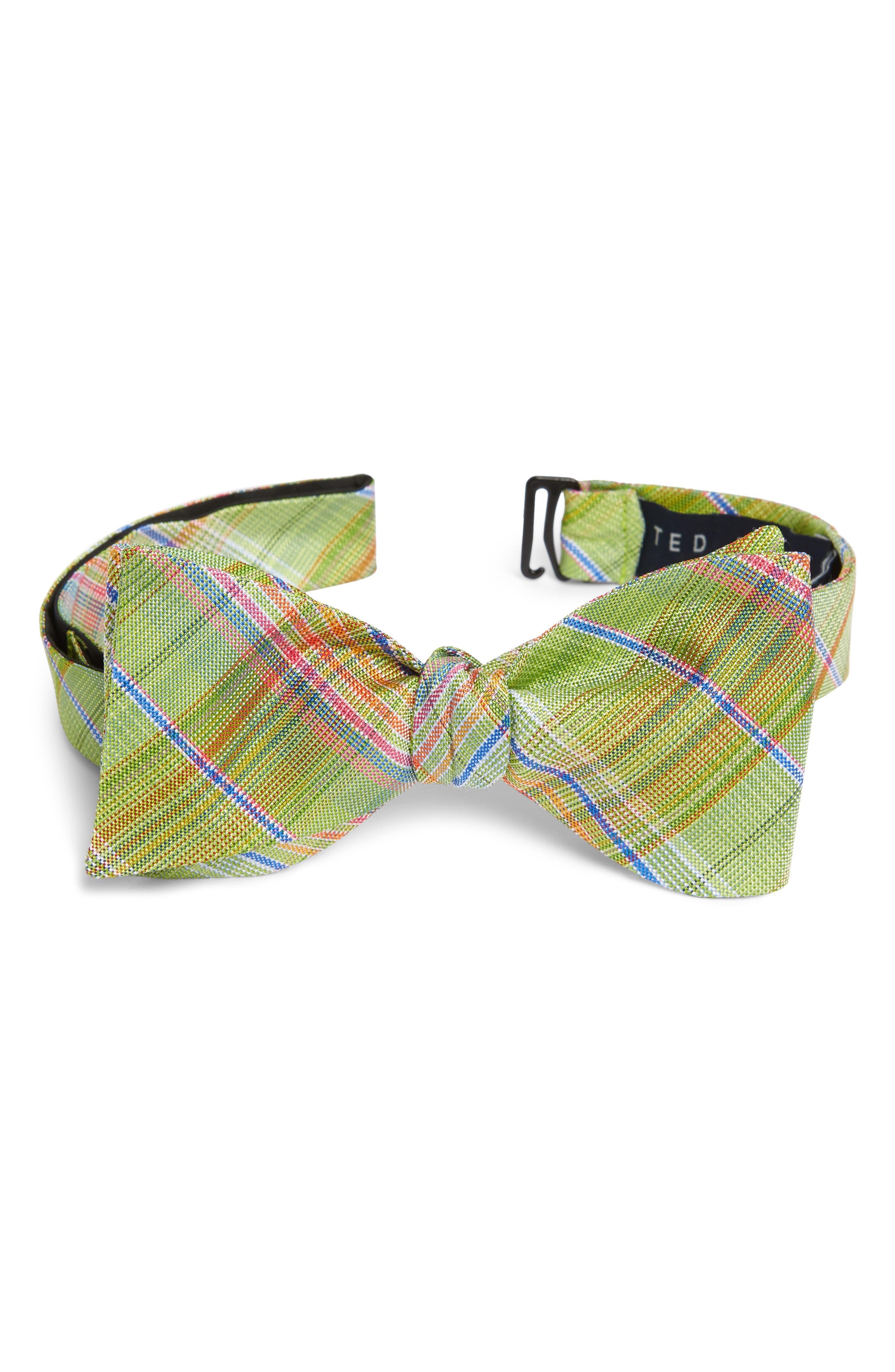 Plaid Silk Tie,                             Main thumbnail 1, color,                             Green