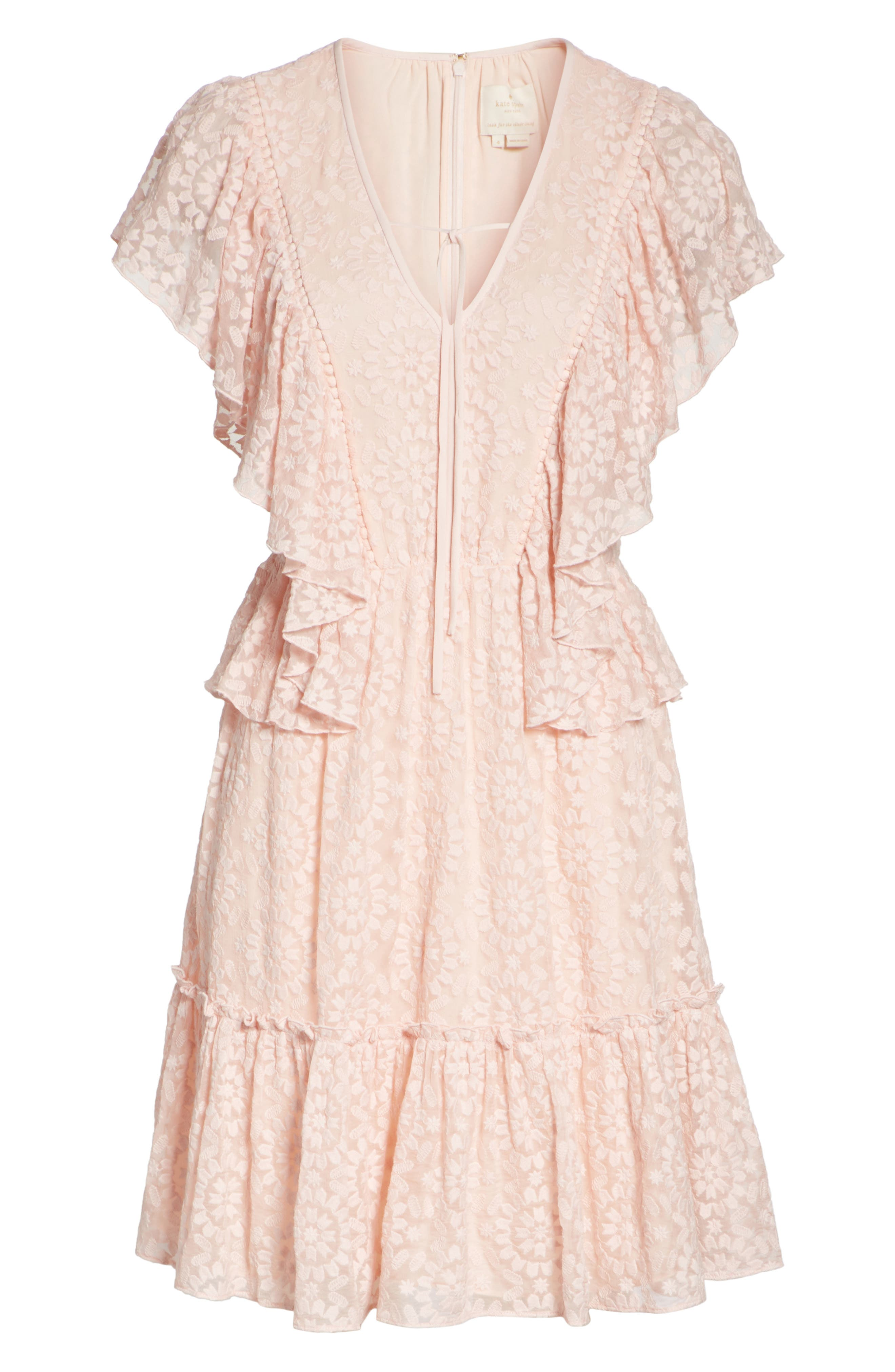 embroidered cotton & silk chiffon dress,                             Alternate thumbnail 6, color,                             Pearl  Pink