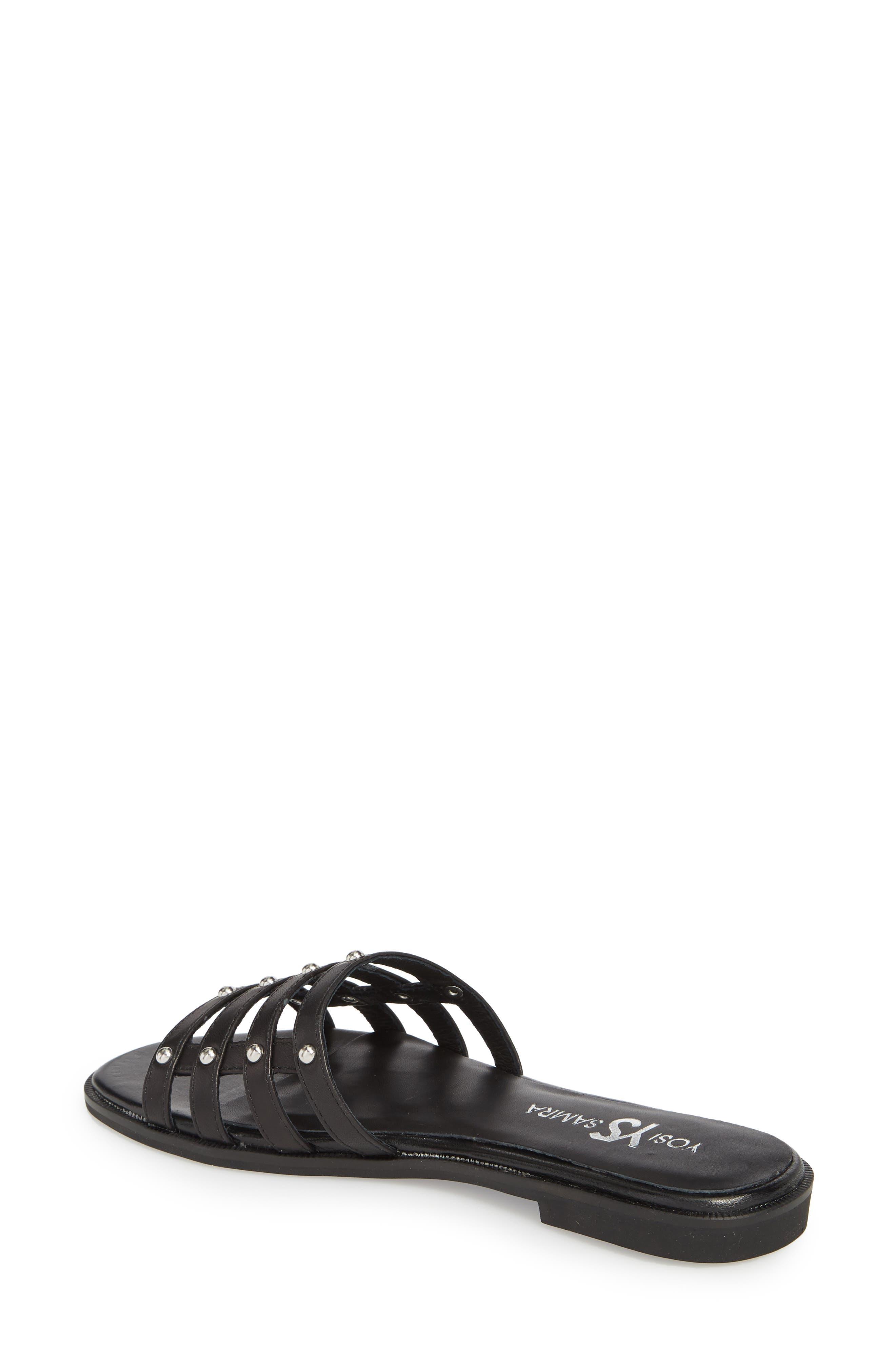 Cara Slide Sandal,                             Alternate thumbnail 2, color,                             Black/ Silver Studs