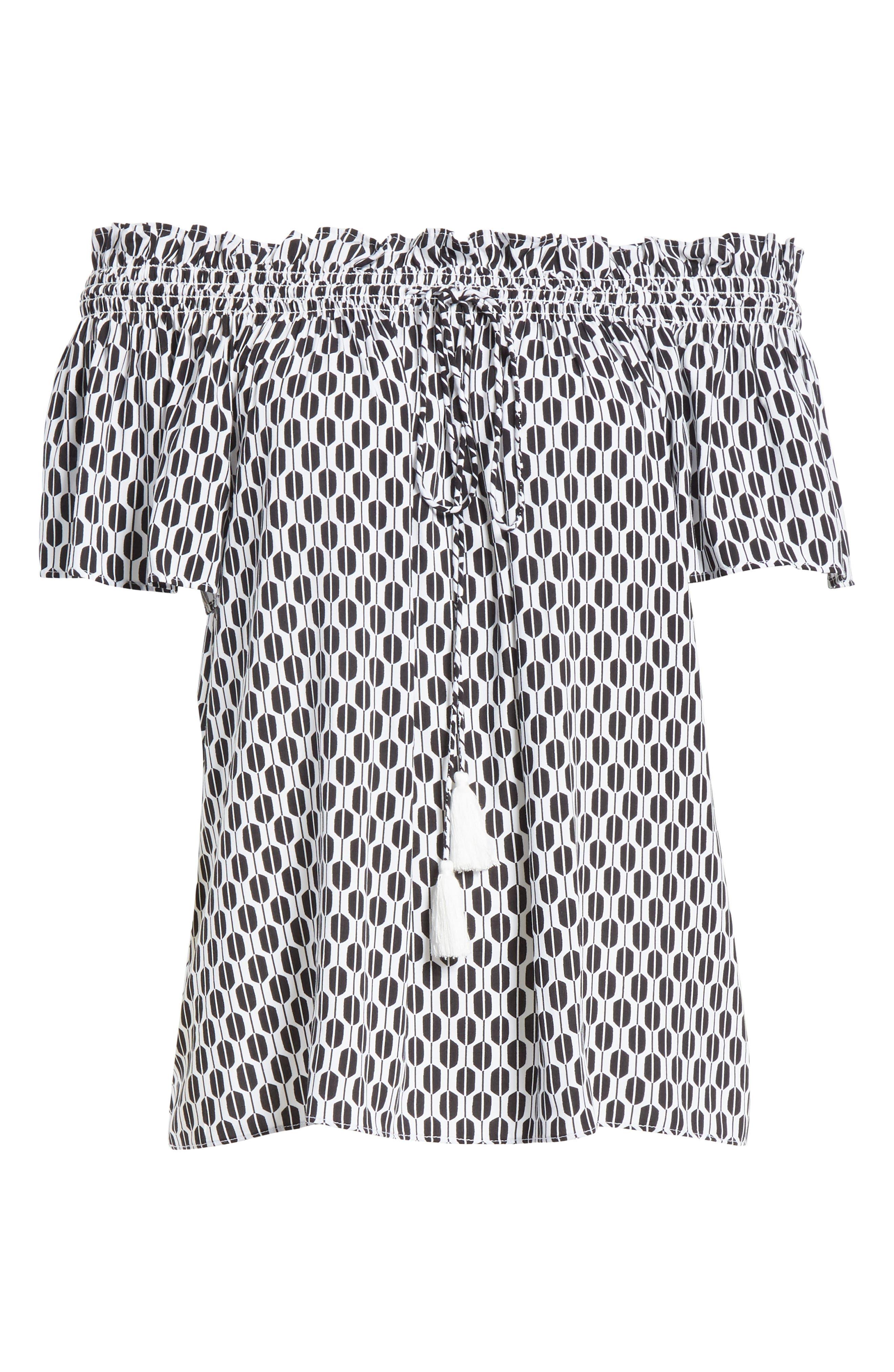 arrow stripe off the shoulder top,                             Alternate thumbnail 6, color,                             Fresh White/ Black