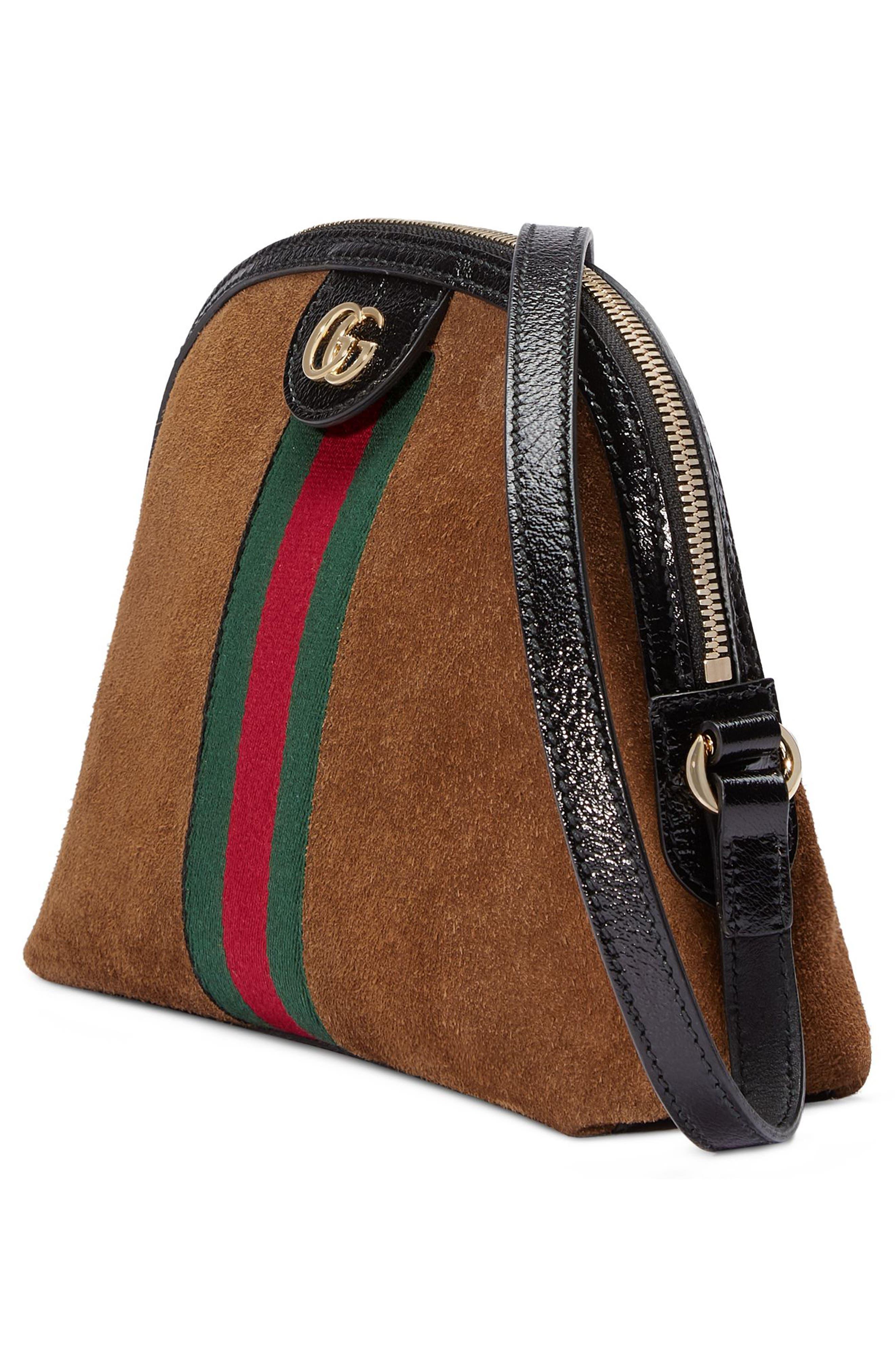 Small Suede Shoulder Bag,                             Alternate thumbnail 4, color,                             Nocciola/ Nero/ Vert Red Vert