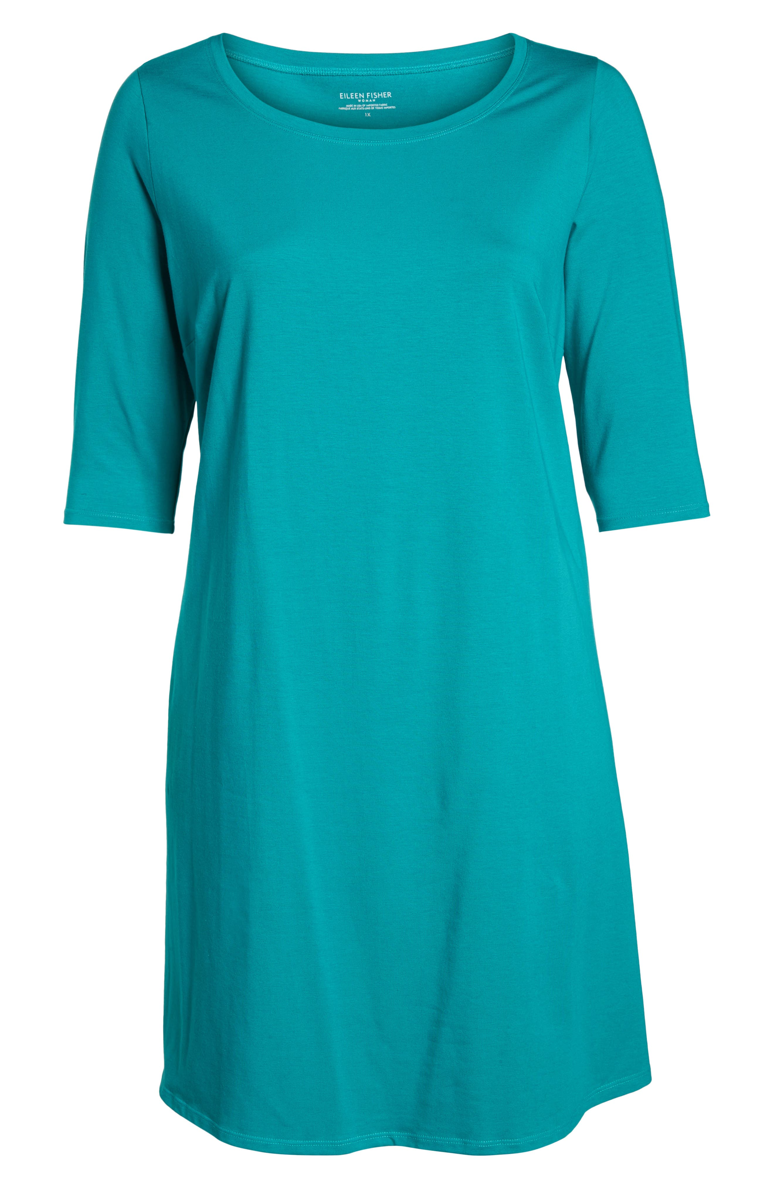 Stretch Organic Cotton Shift Dress,                             Alternate thumbnail 7, color,                             Turquoise