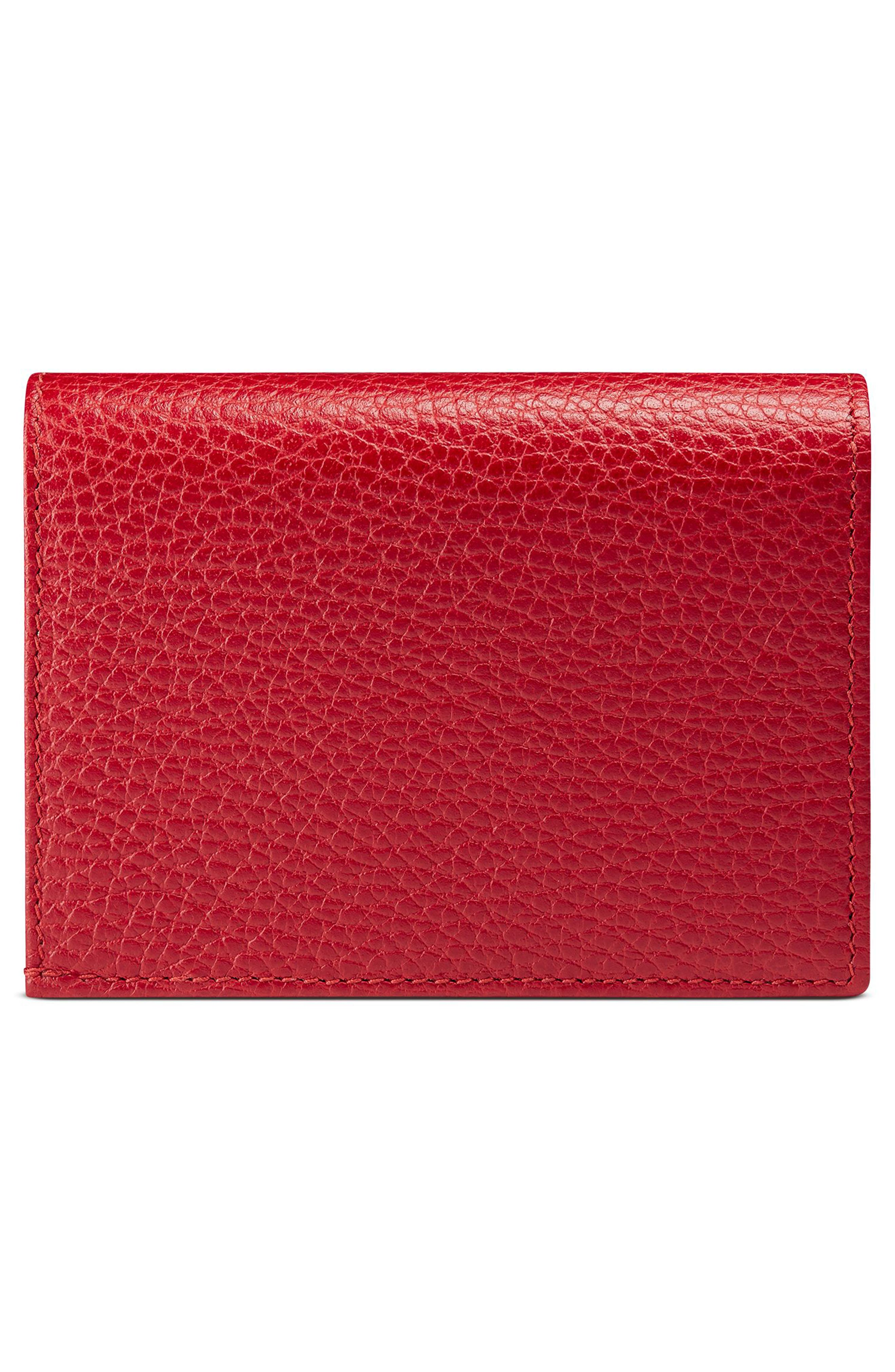 Petite Marmont Leather Card Case,                             Alternate thumbnail 4, color,                             Hibiscus Red