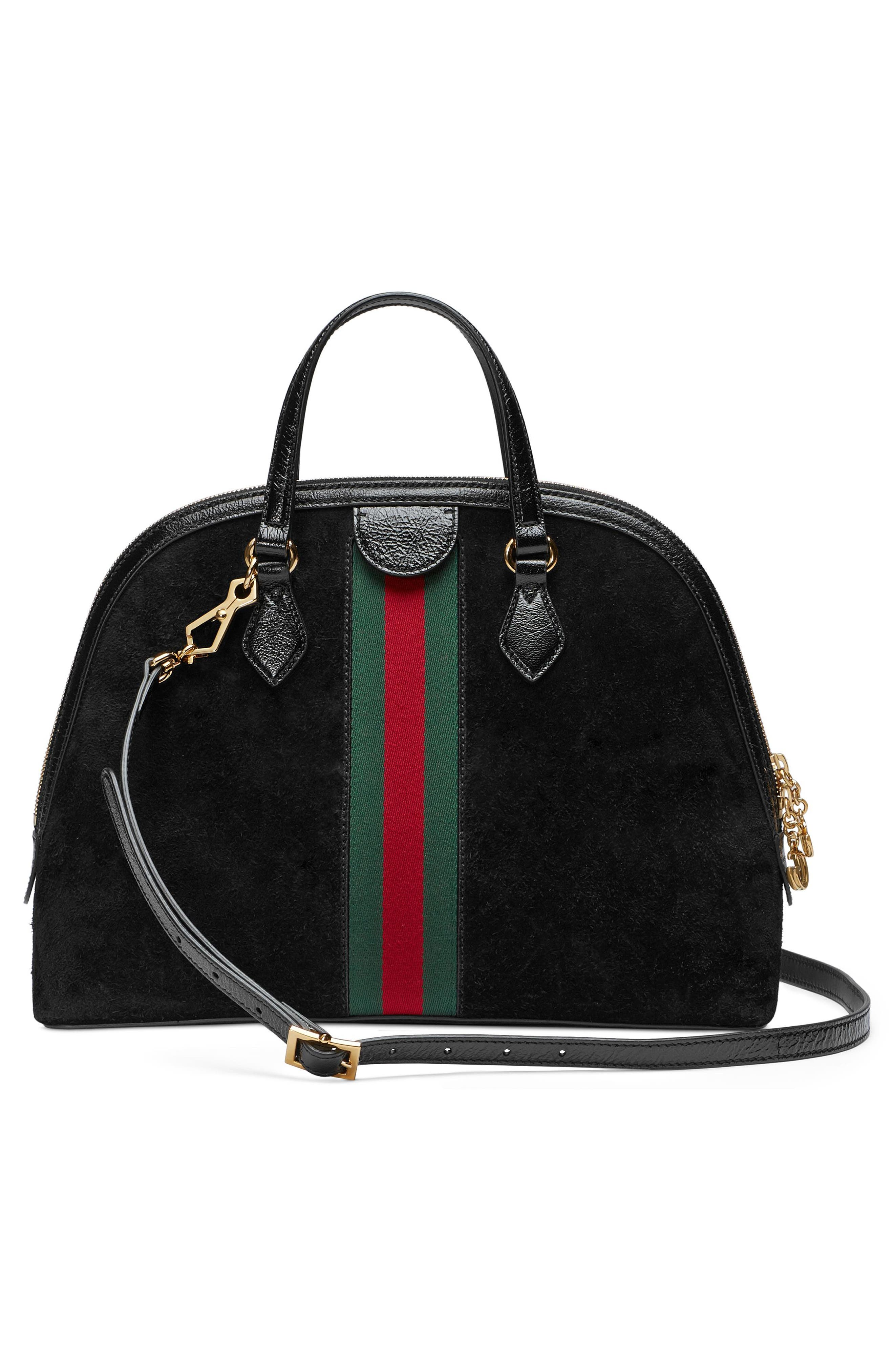 Ophidia Suede Dome Satchel,                             Alternate thumbnail 2, color,                             Nero/ Nero/ Vert Red Vert