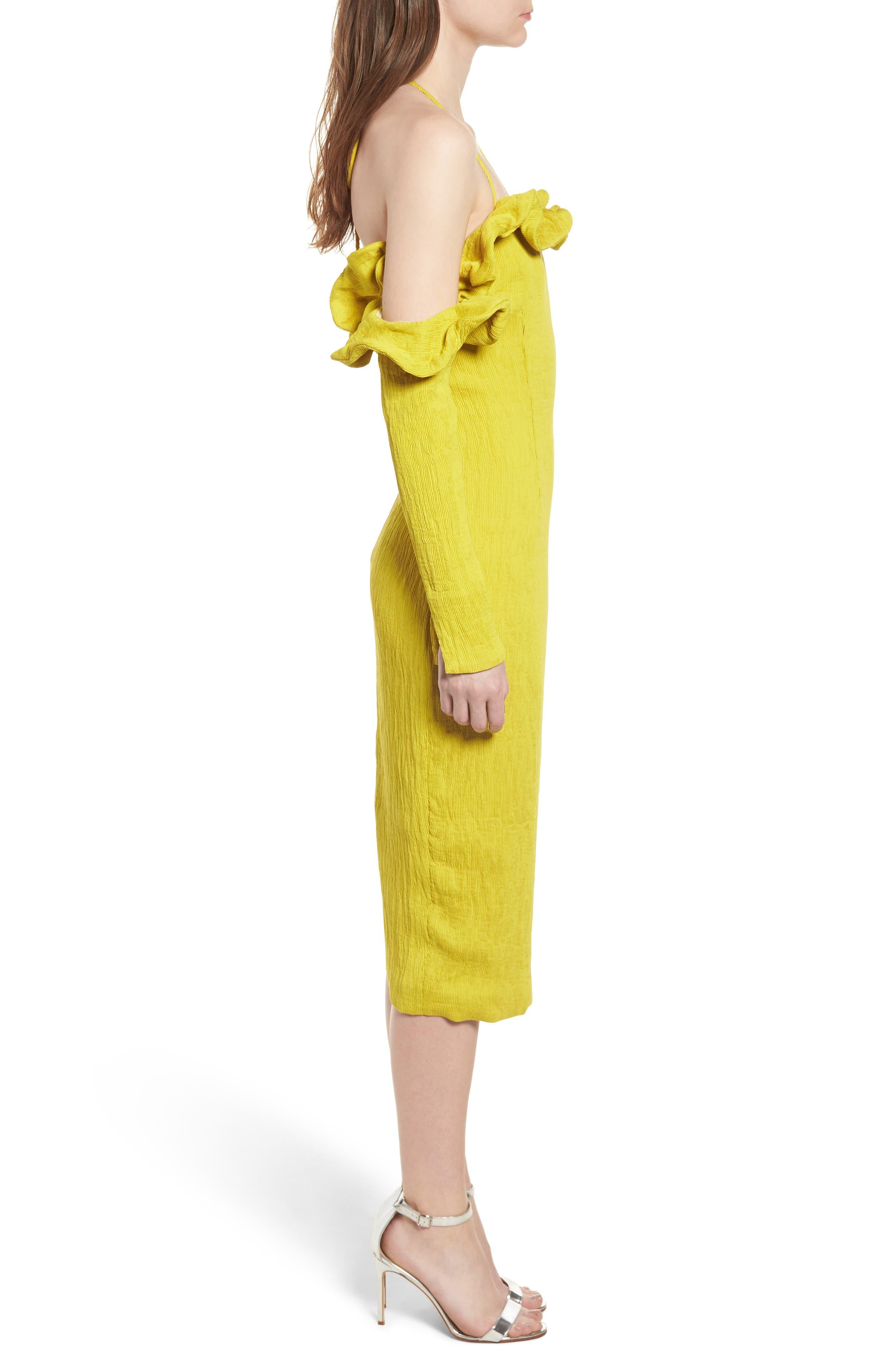 Avon Cold Shoulder Dress,                             Alternate thumbnail 3, color,                             Chartreuse
