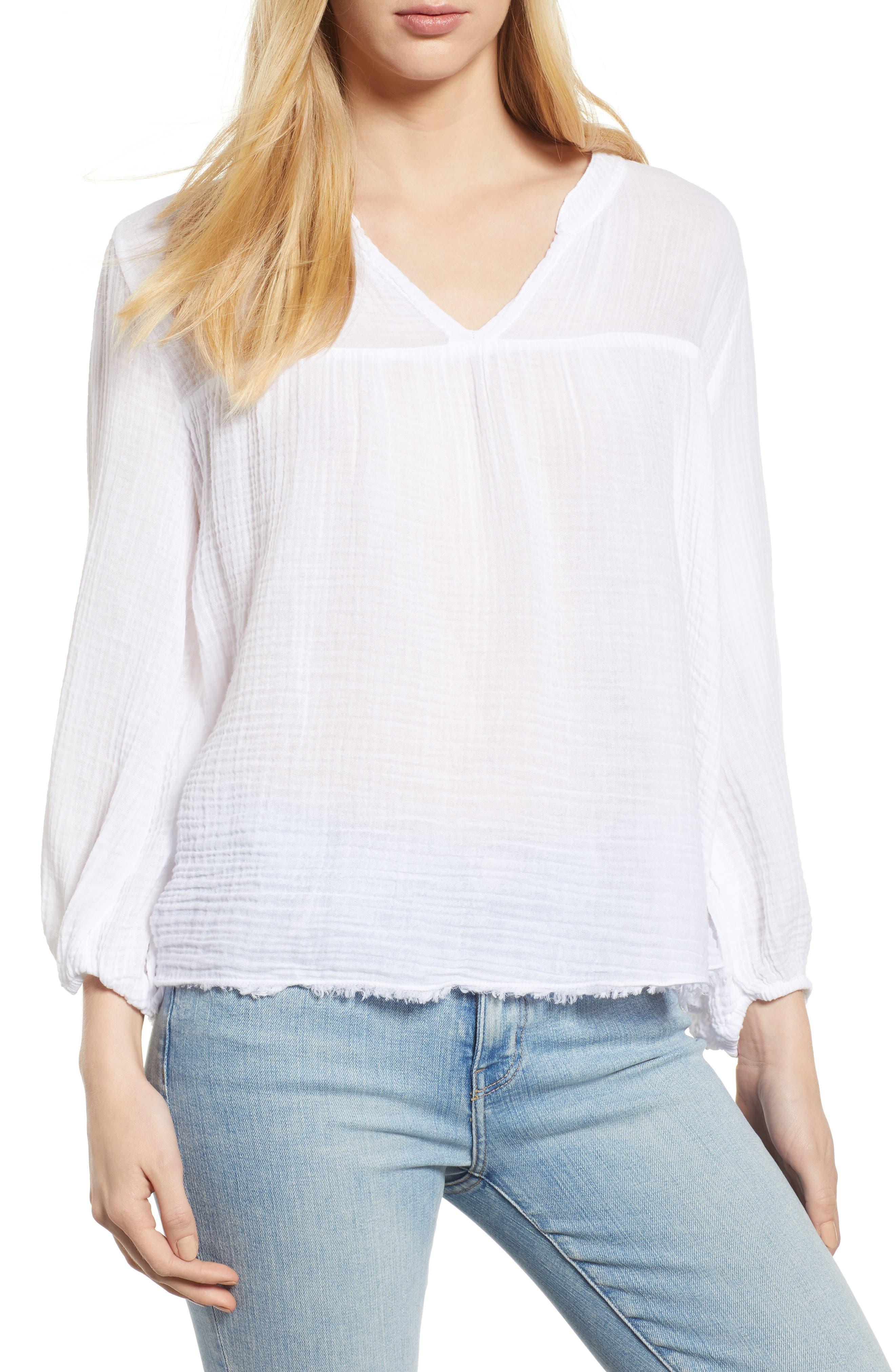 Cotton Gauze Peasant Top,                         Main,                         color, White
