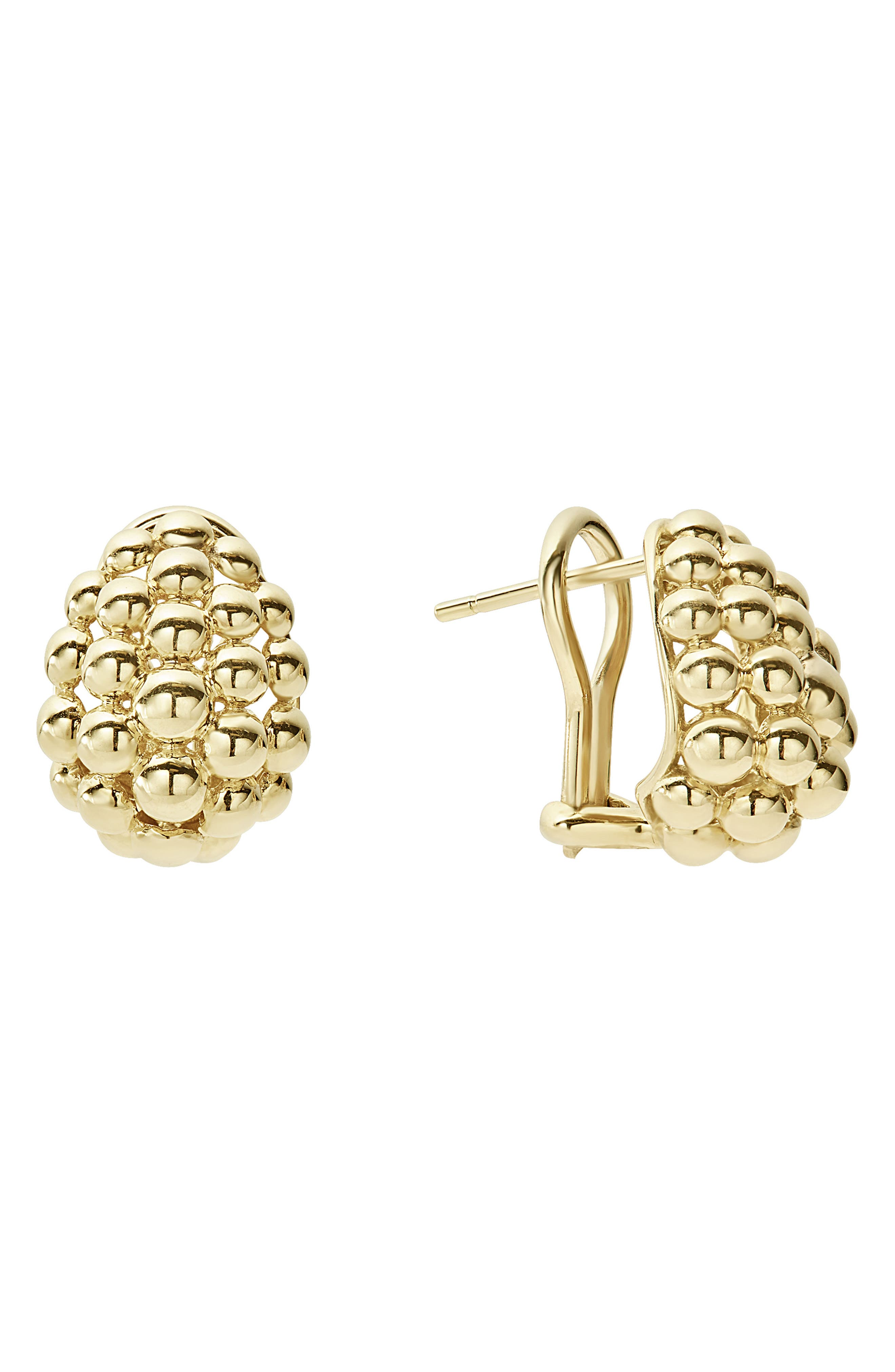 Caviar Gold Bold Medium Omega Clip Earrings,                         Main,                         color, Gold