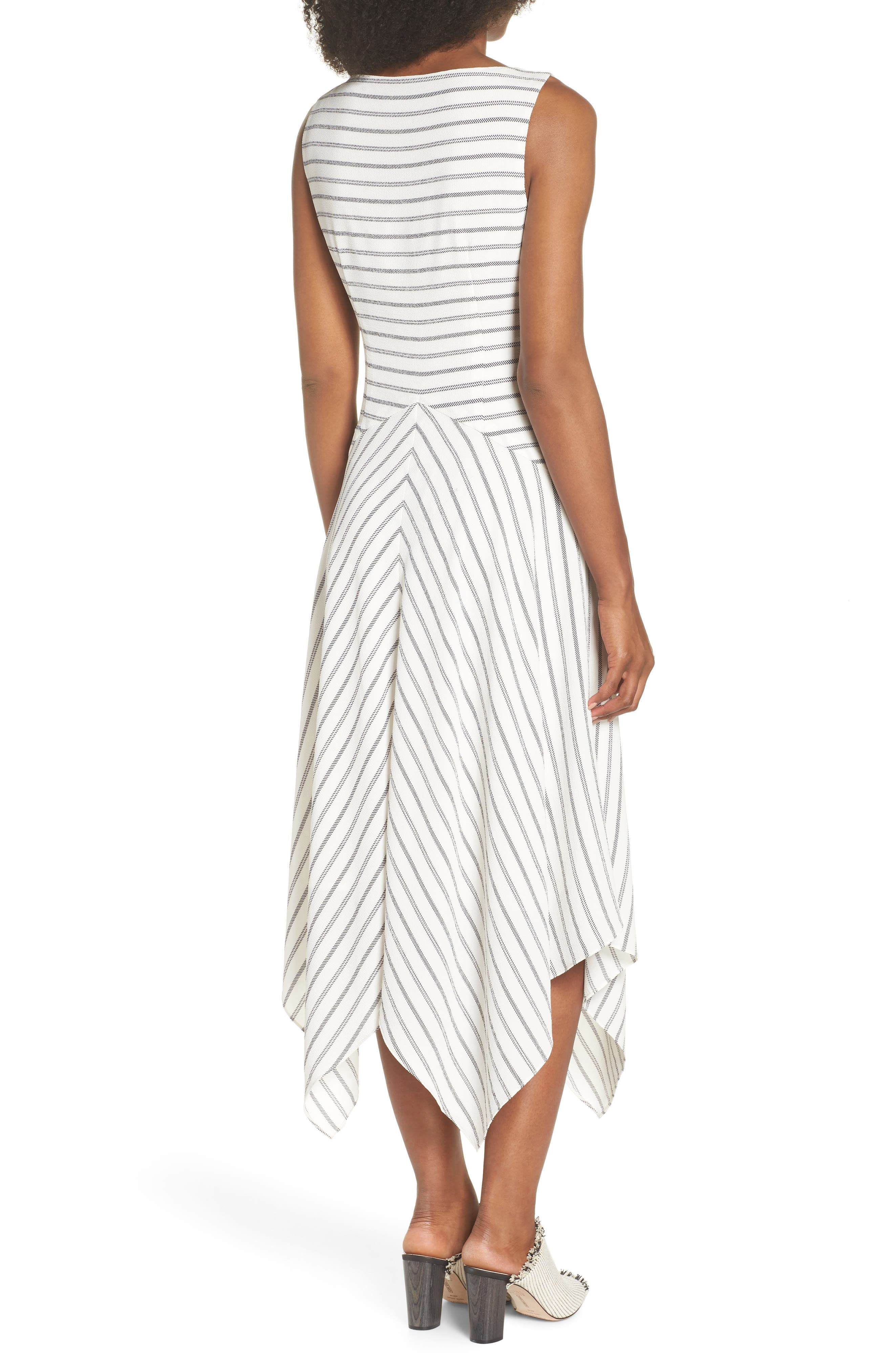 Stripe Ruched Handkerchief Hem Dress,                             Alternate thumbnail 2, color,                             Soft White/ Black