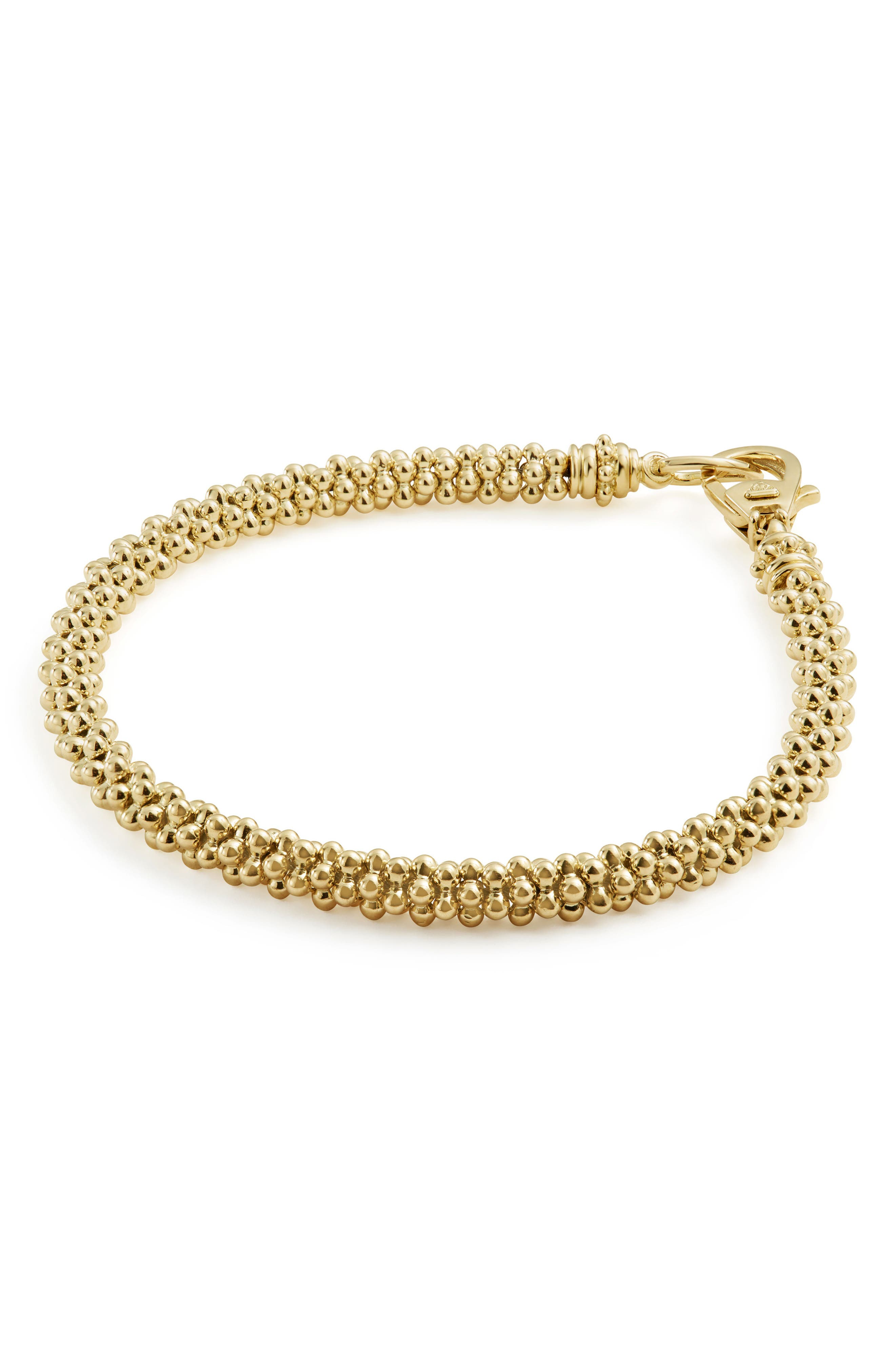 Caviar Gold Rope Bracelet,                             Alternate thumbnail 4, color,                             Gold