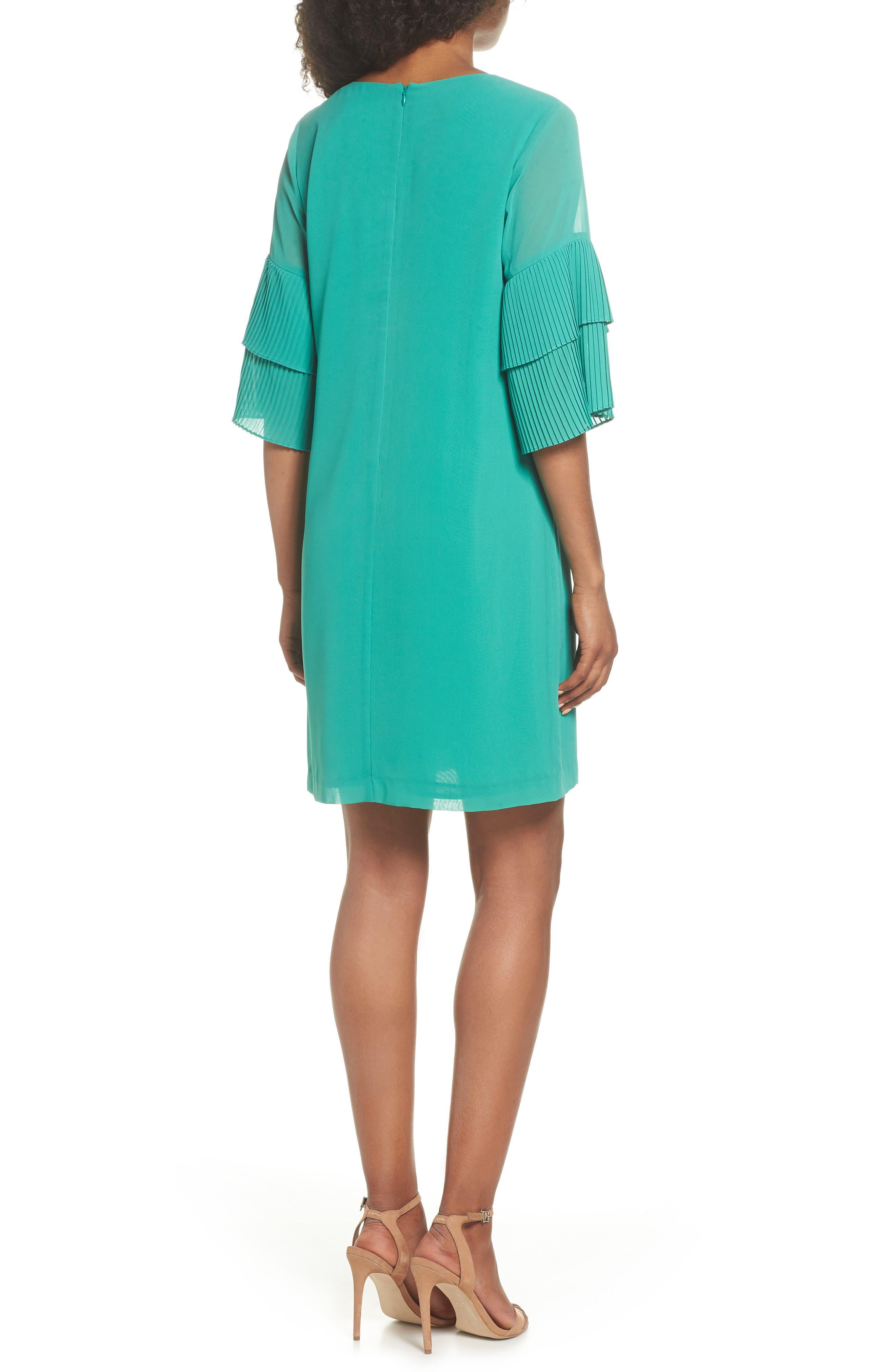 Pleat Sleeve Shift Dress,                             Alternate thumbnail 2, color,                             Green