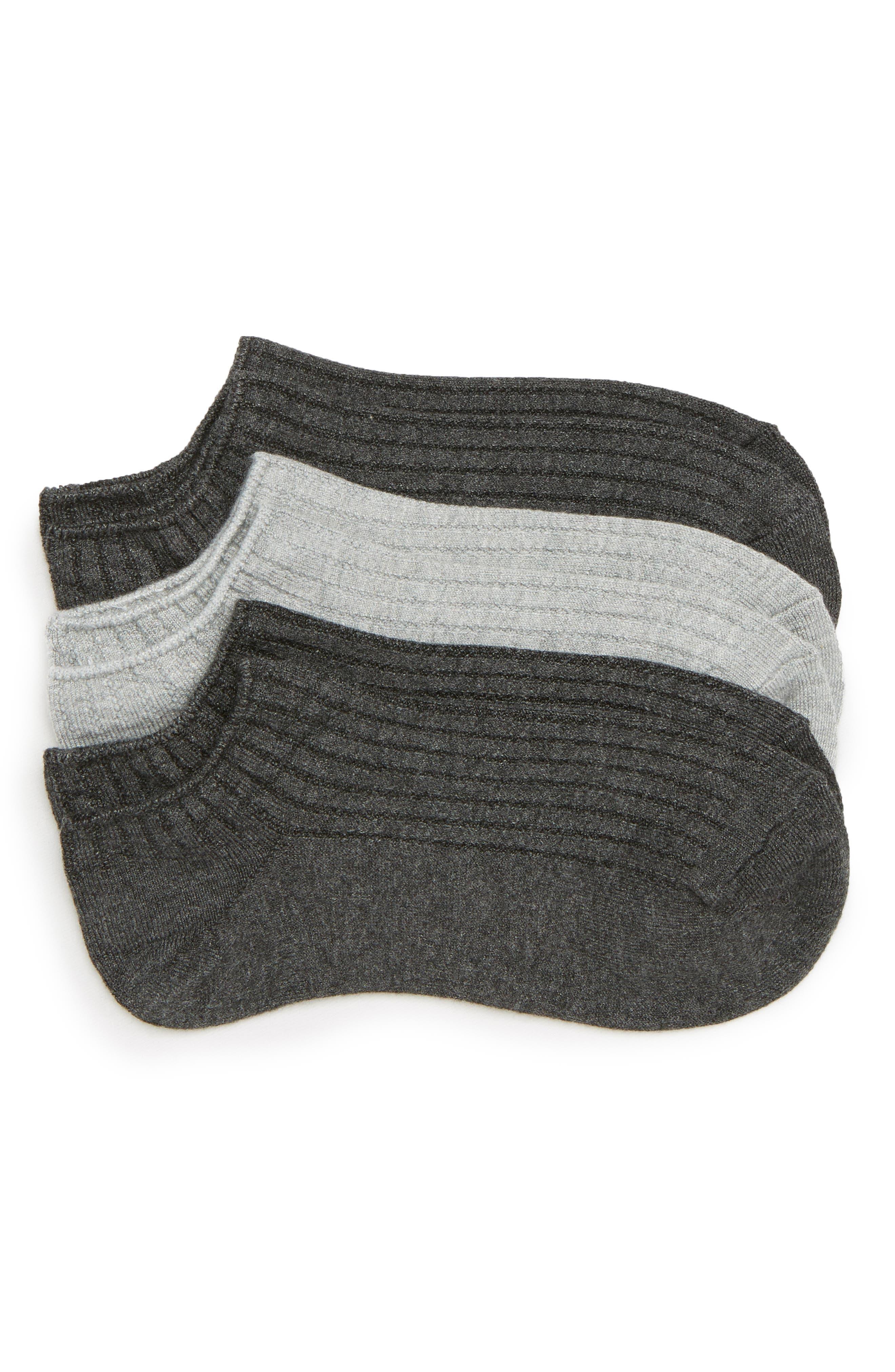 3-Pack No-Show Socks,                         Main,                         color, Smoke