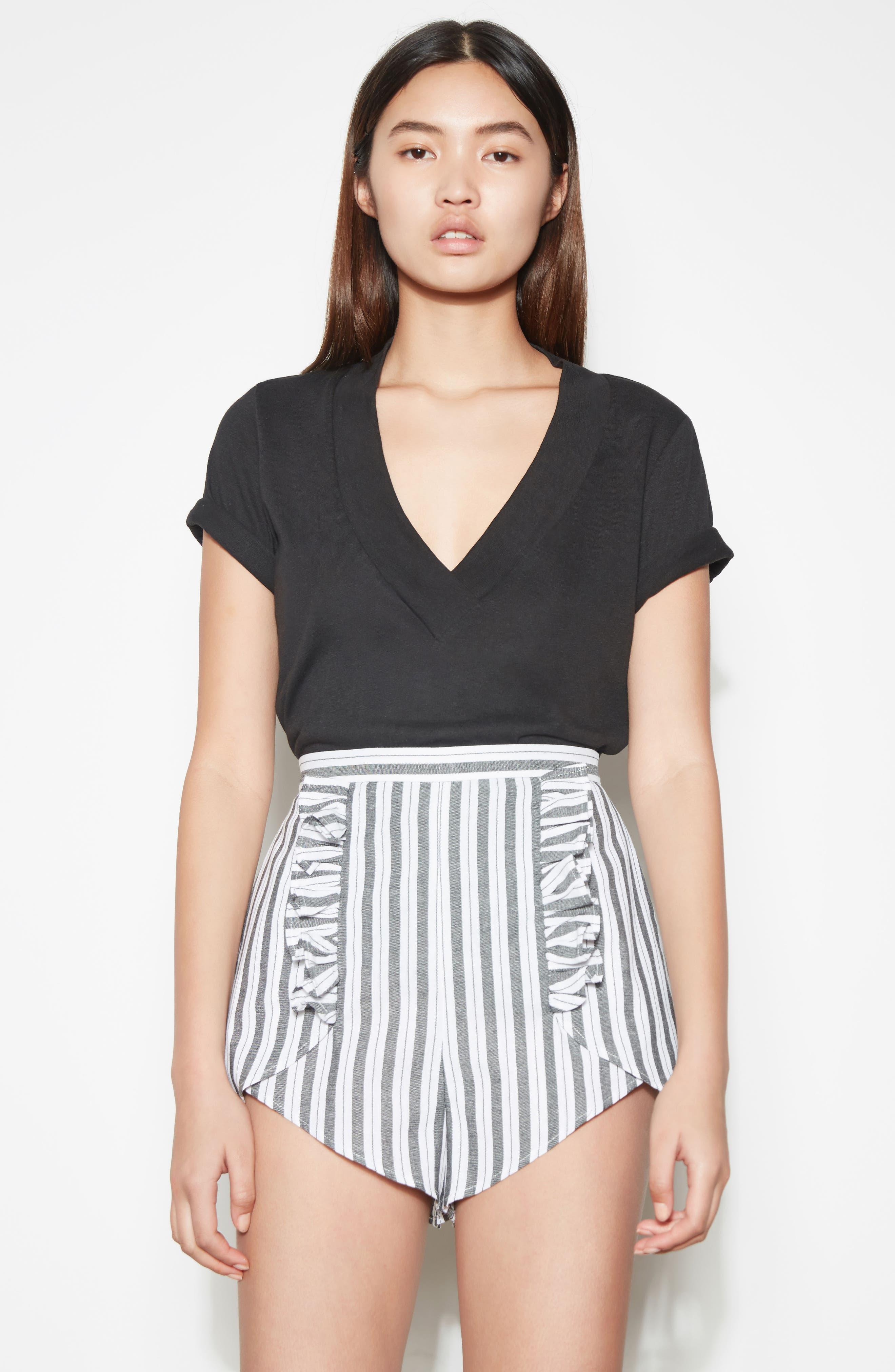 Acacia Stripe High Waist Shorts,                             Alternate thumbnail 2, color,                             Black W White