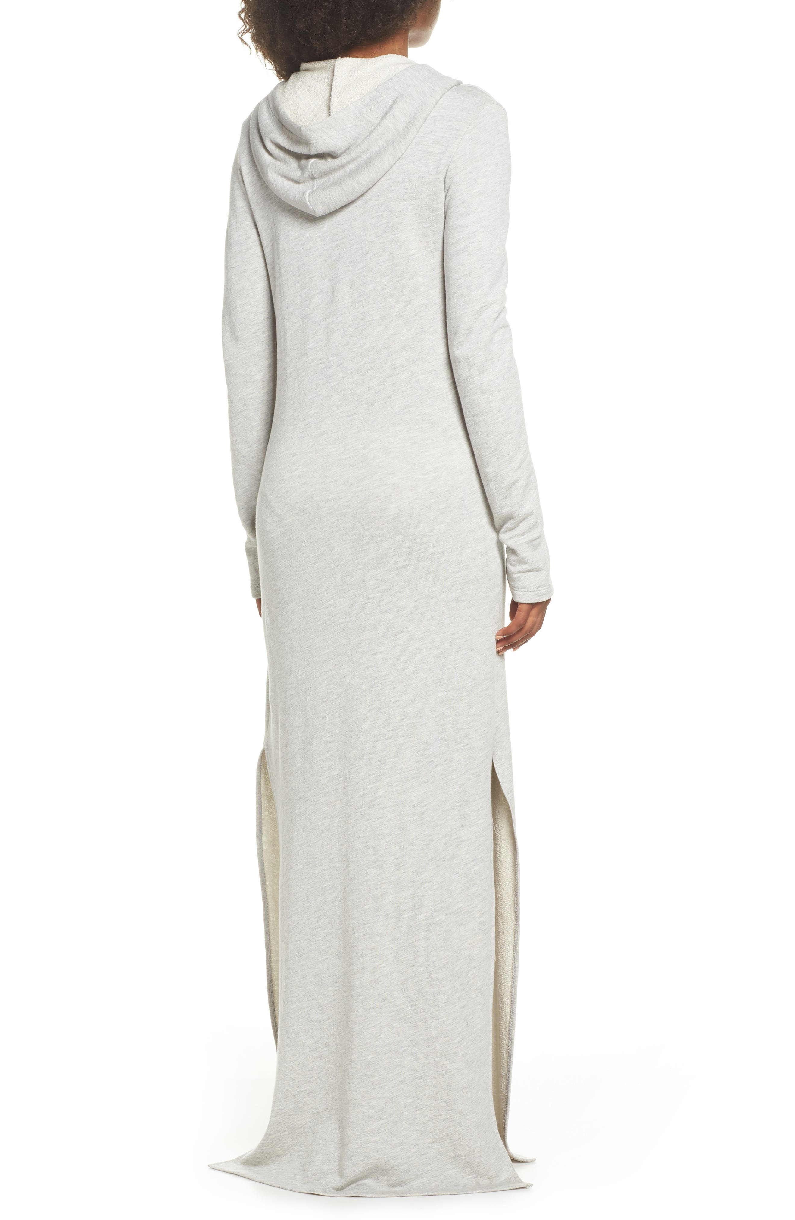 Hooded Terry Nightgown,                             Alternate thumbnail 2, color,                             Grey Terry