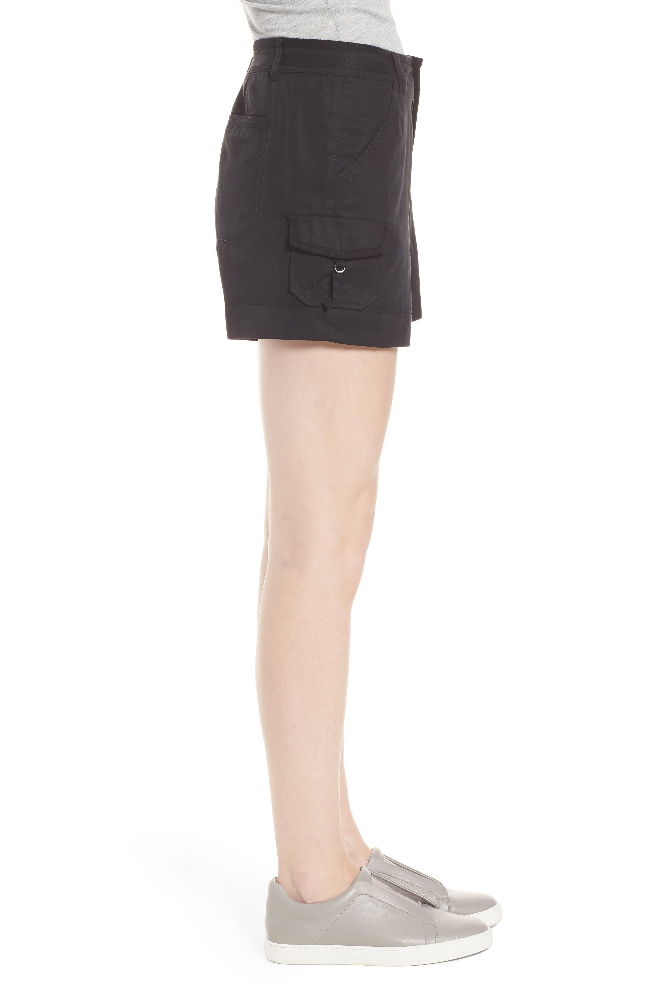 High Rise Tencel Shorts,                             Alternate thumbnail 3, color,                             Black