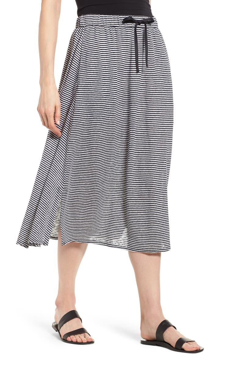 Flared Stripe Organic Linen Skirt