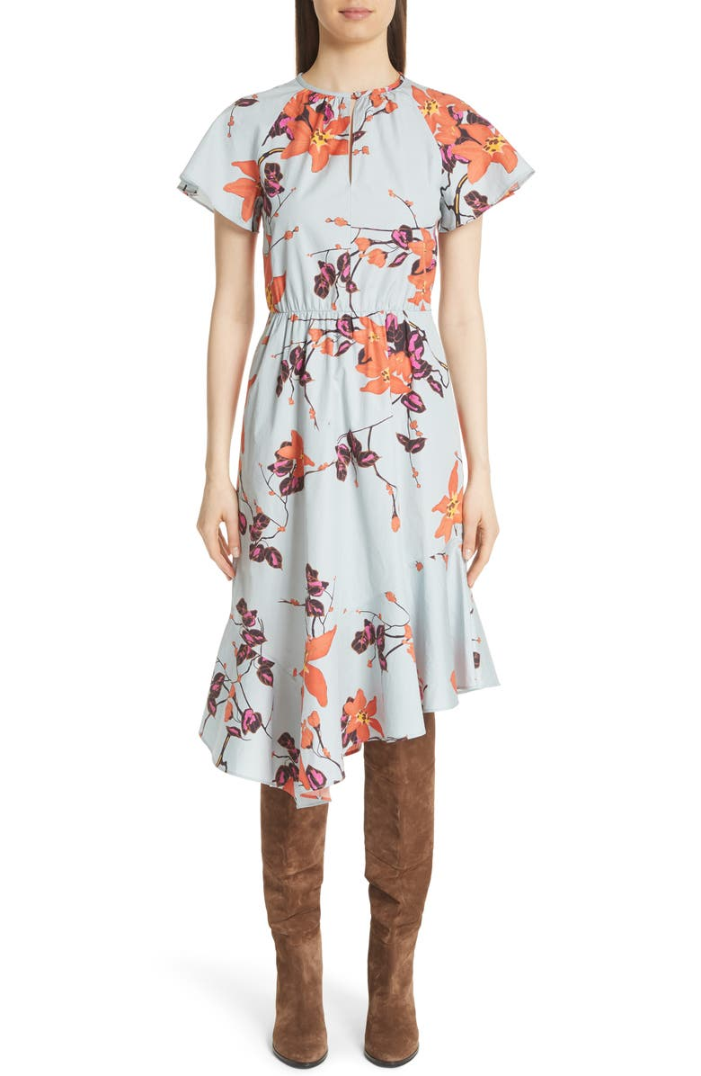 Asymmetric Floral Cotton Dress