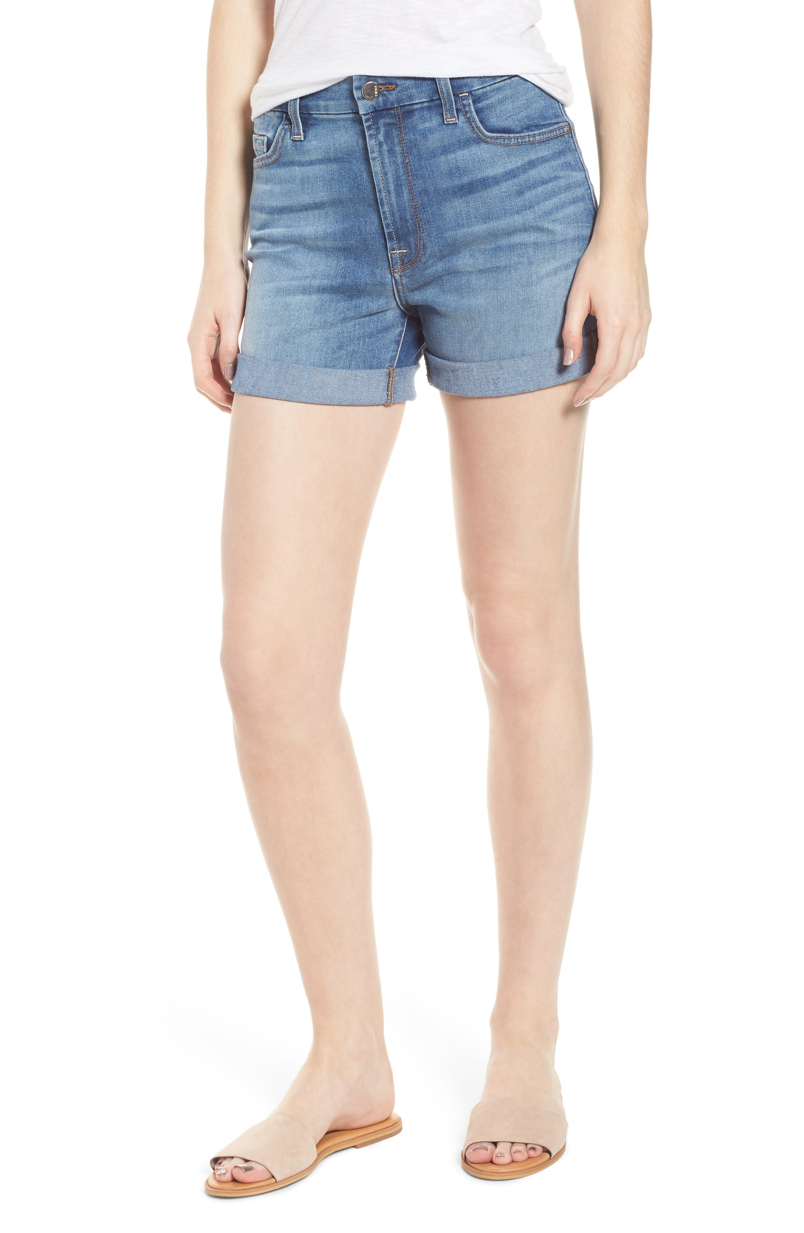 JEN7 Roll Up Denim Shorts in Sunlight