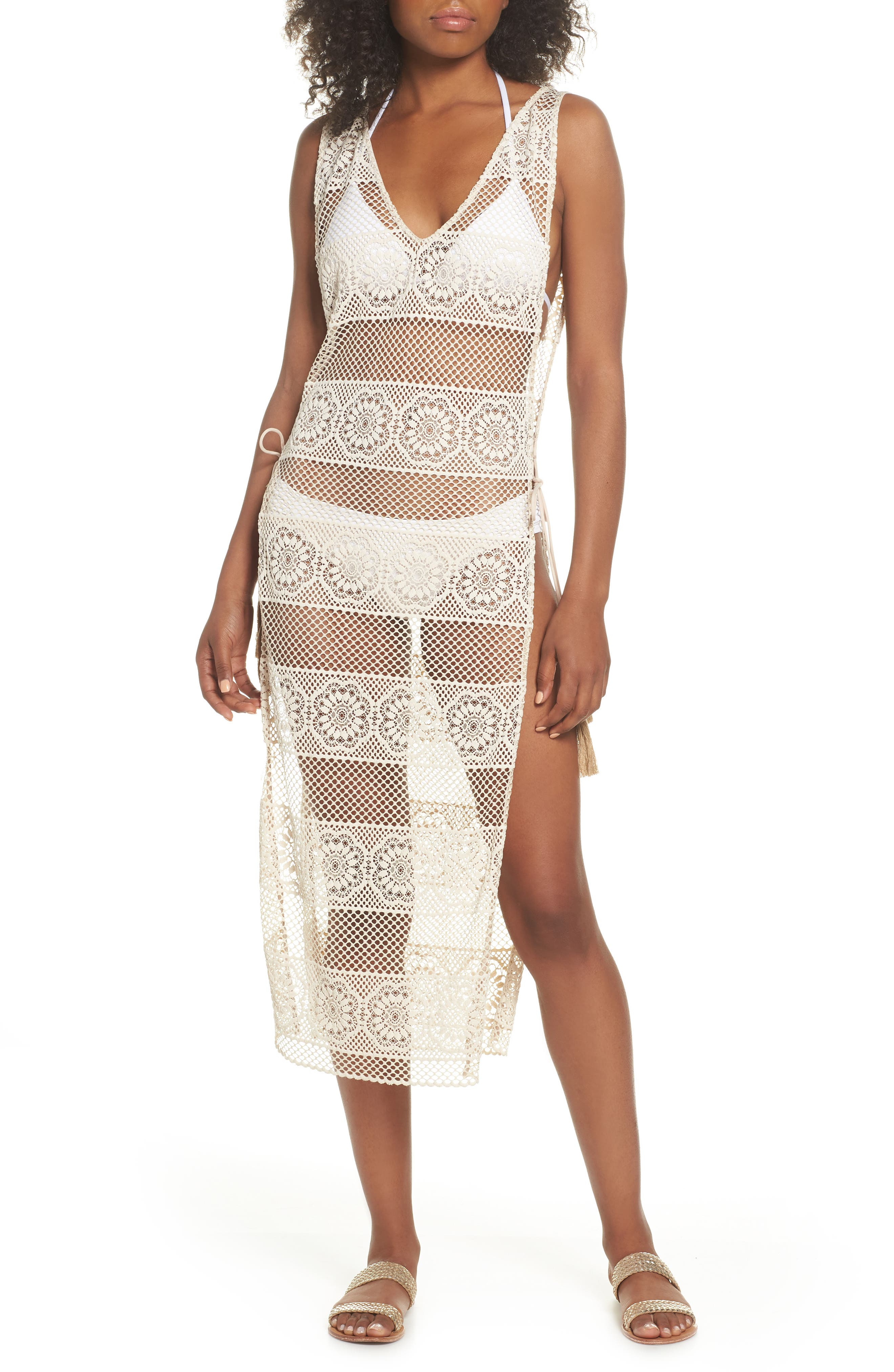 Joy Lace Cover-Up Dress,                         Main,                         color, Water Lily