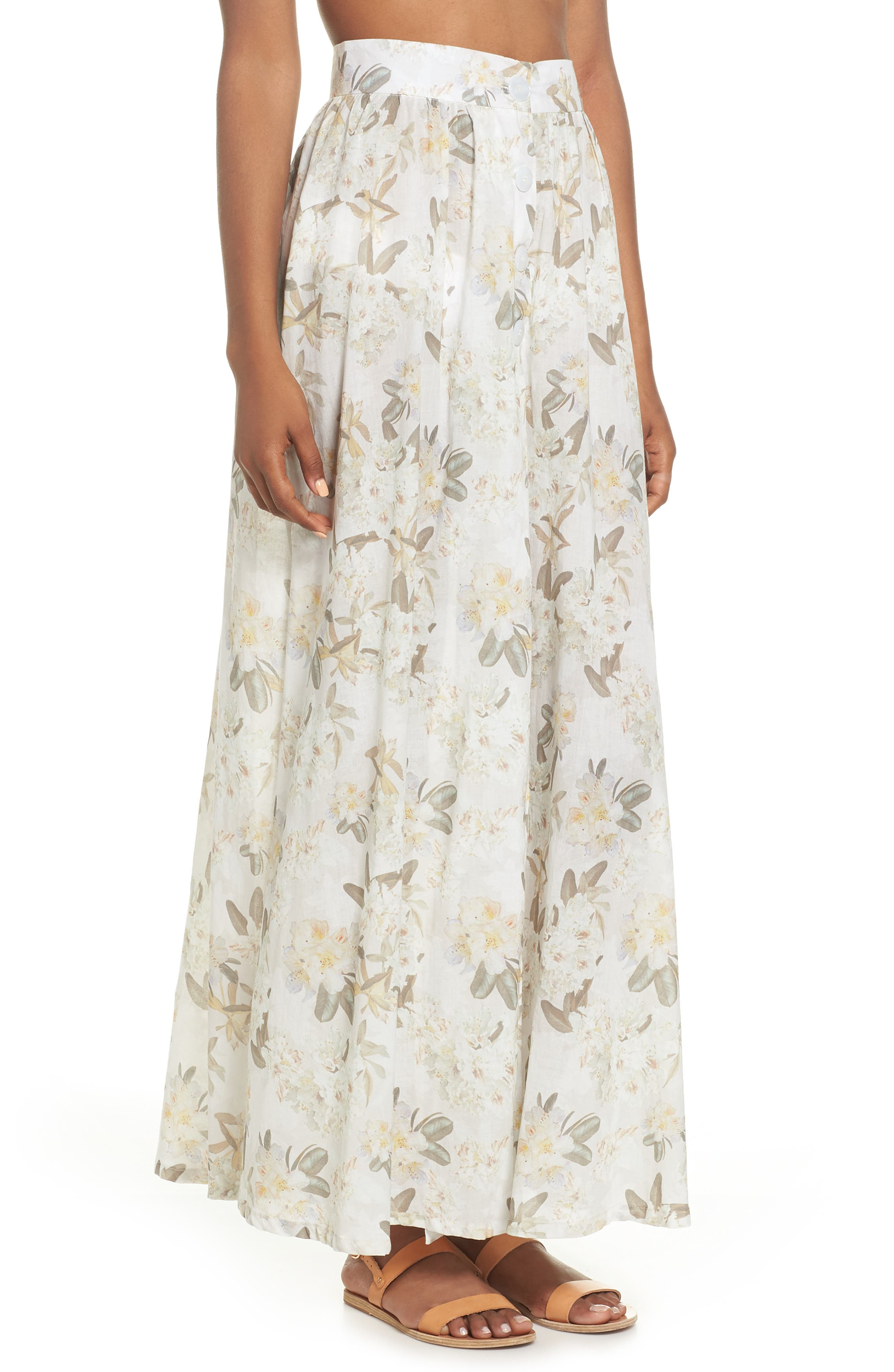 Edith Cover-Up Maxi Skirt,                             Alternate thumbnail 3, color,                             Ete Floral White