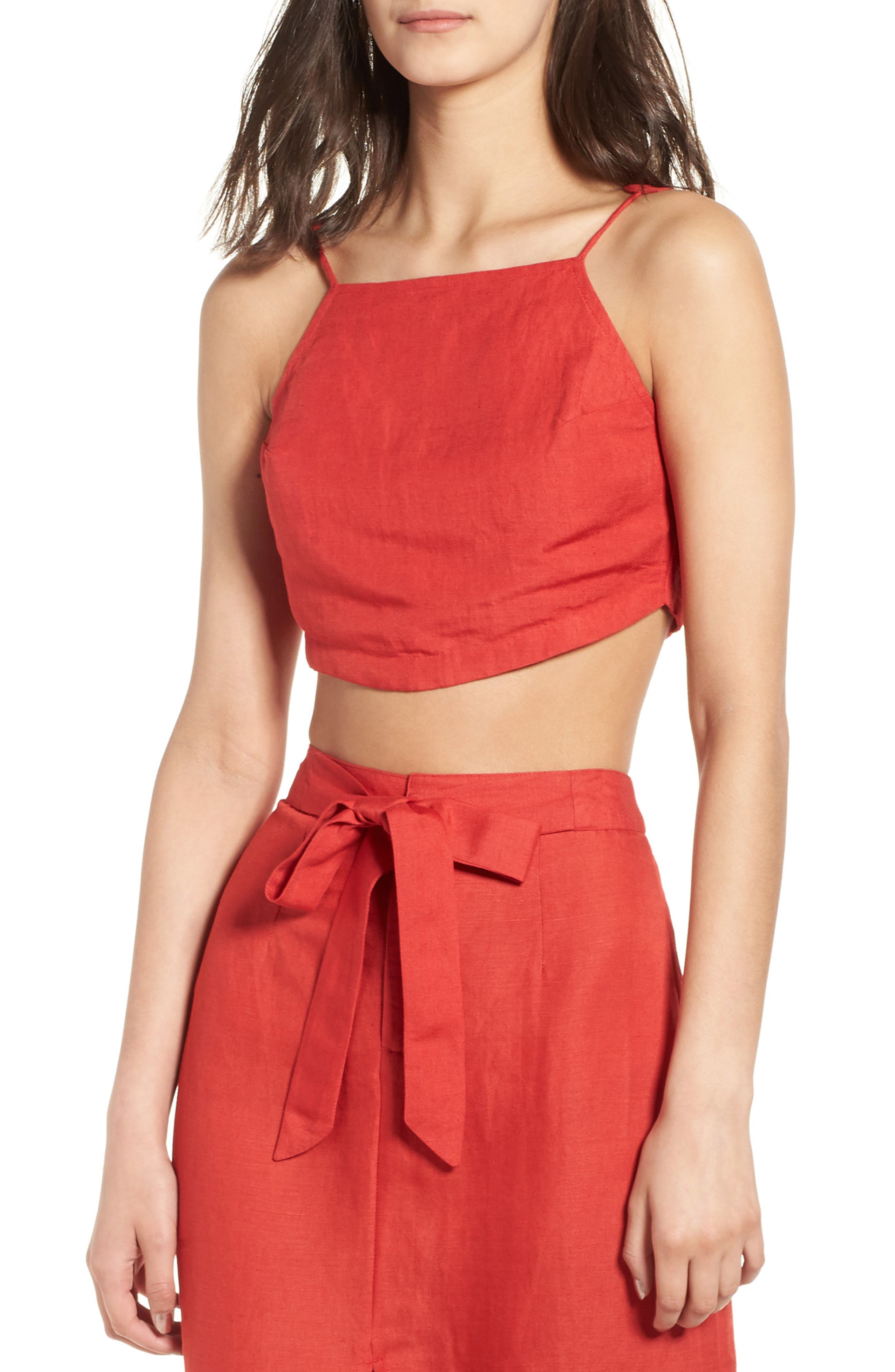 Linen Blend Crop Top,                         Main,                         color, Bright Red