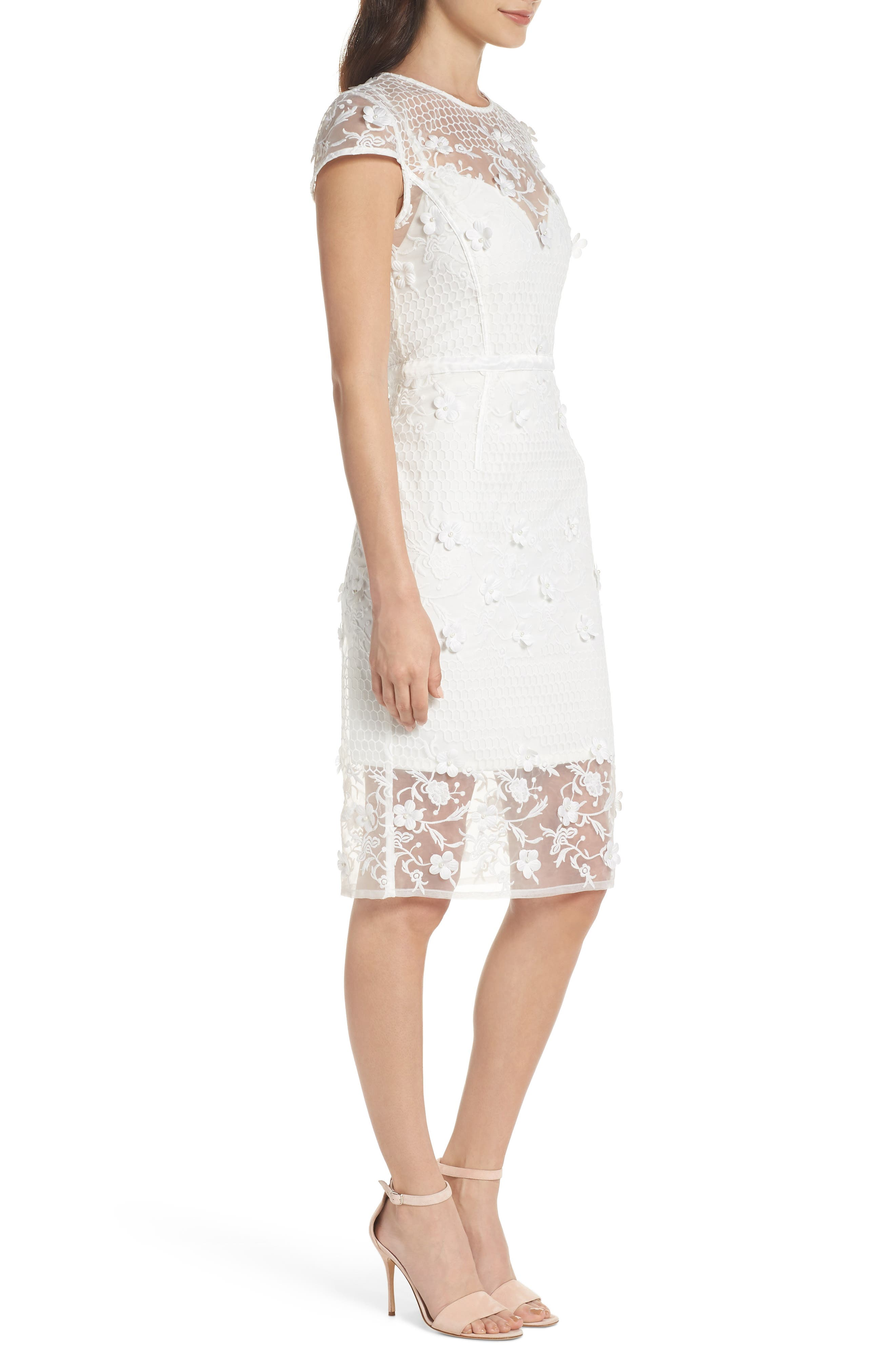 Osa Embroidered Cap Sleeve Organza Dress,                             Alternate thumbnail 3, color,                             White