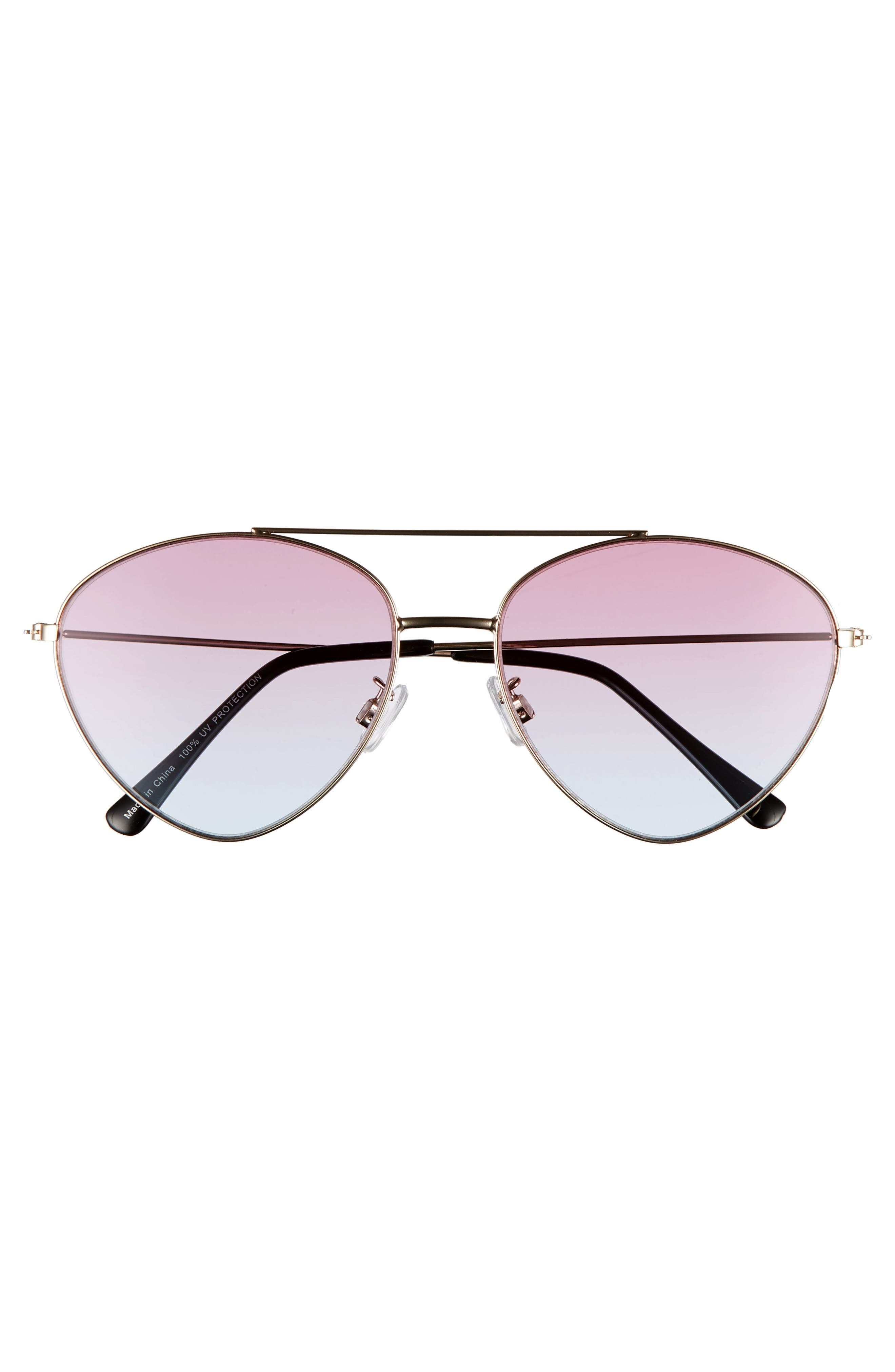 56mm Gradient Aviator Sunglasses,                             Alternate thumbnail 3, color,                             Gold/ Pink/ Blue
