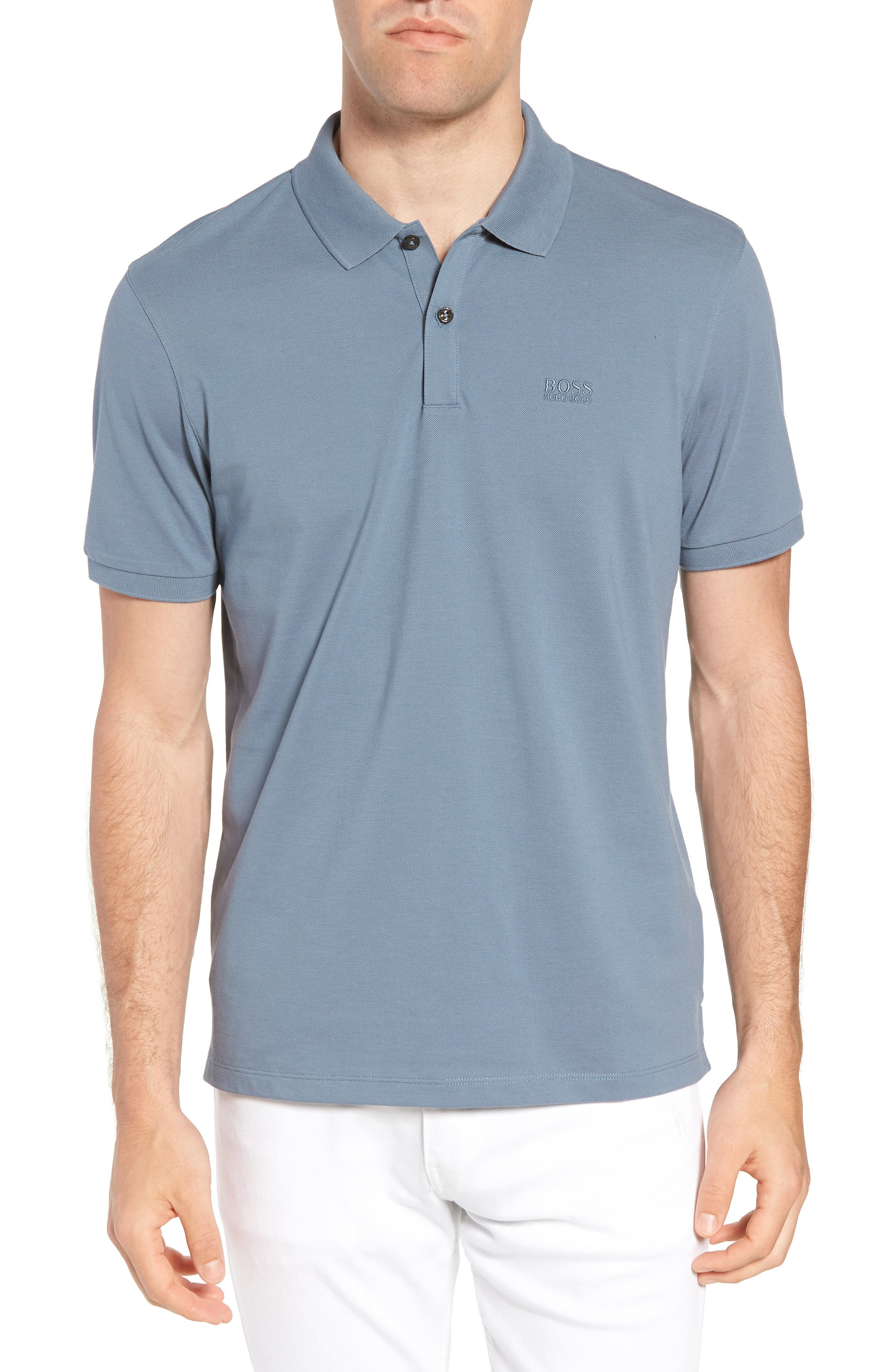 'Pallas' Regular Fit Logo Embroidered Polo Shirt,                         Main,                         color, Blue/ Blue