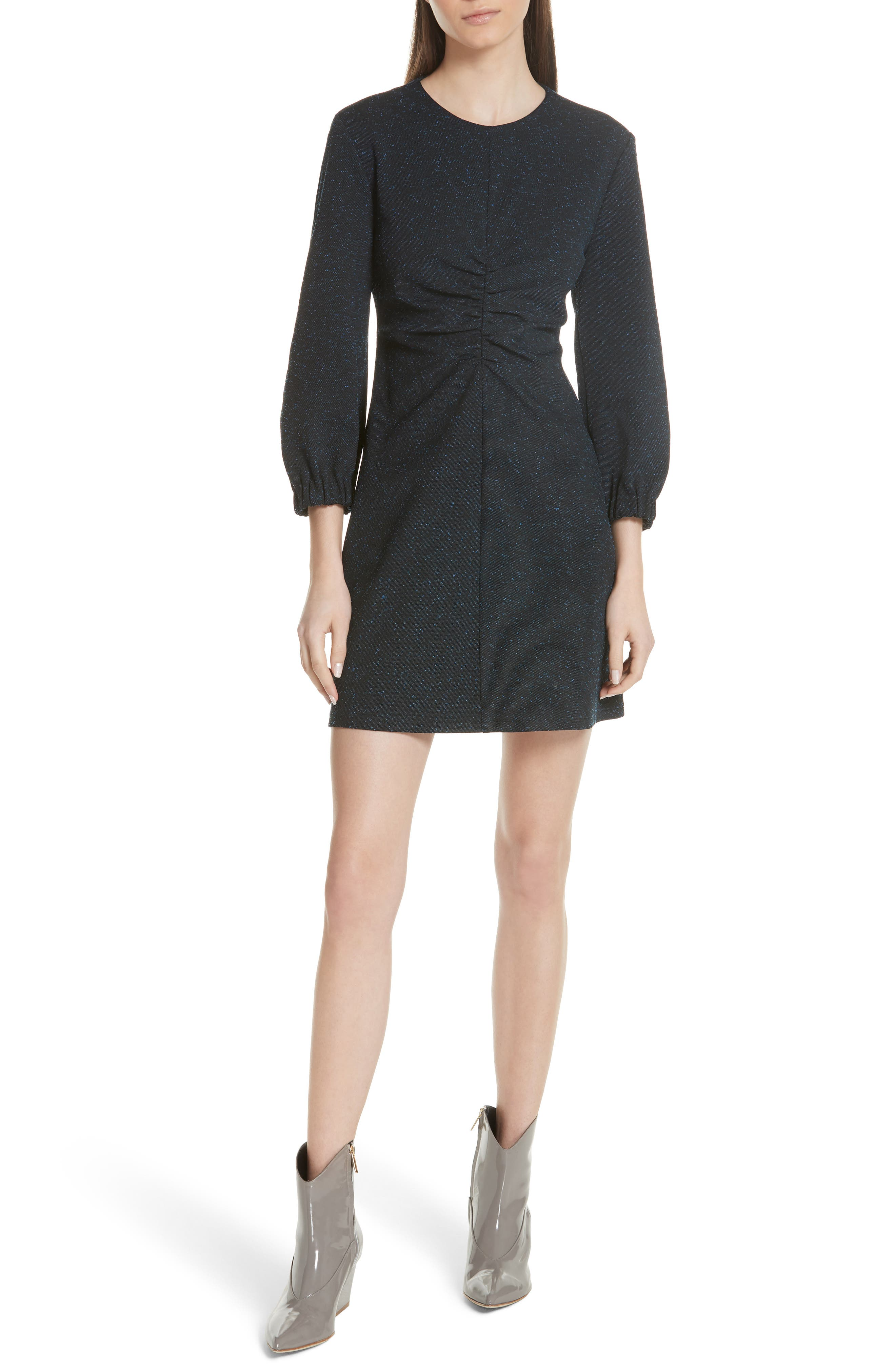 ECLIPSE PIQUE LONG-SLEEVE RUCHED MINI DRESS