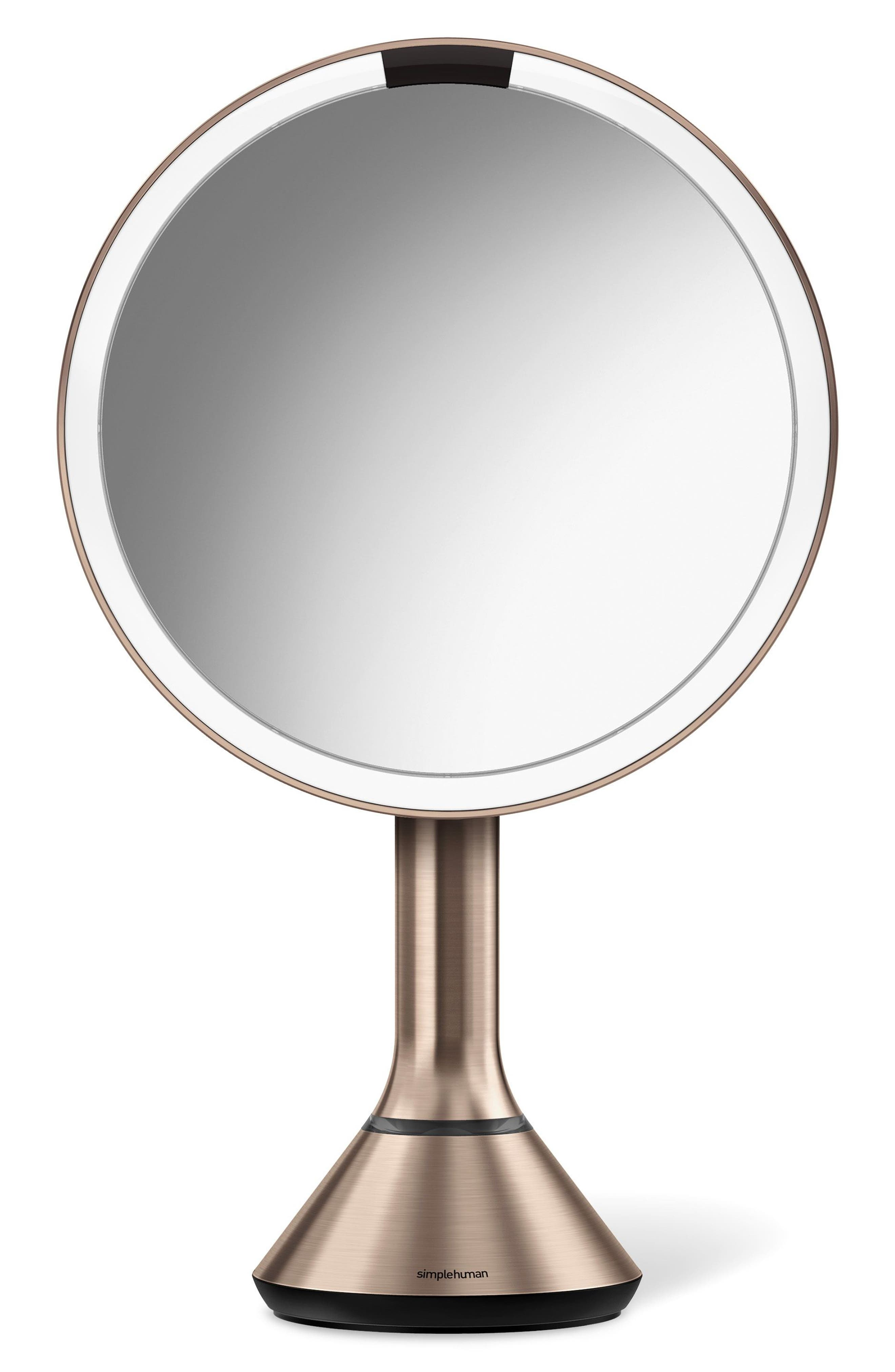 Eight Inch Sensor Mirror with Brightness Control,                             Main thumbnail 1, color,                             Rose Gold