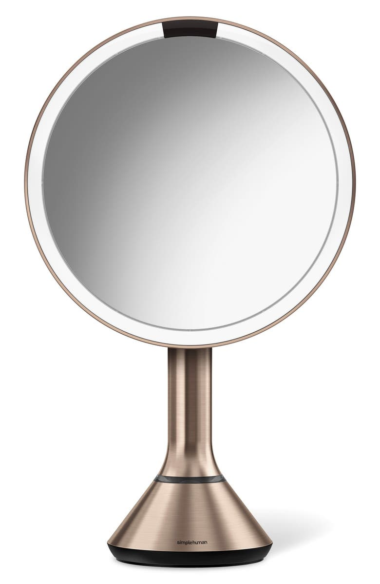 Eight Inch Sensor Mirror with Brightness Control, Main, color, Rose Gold