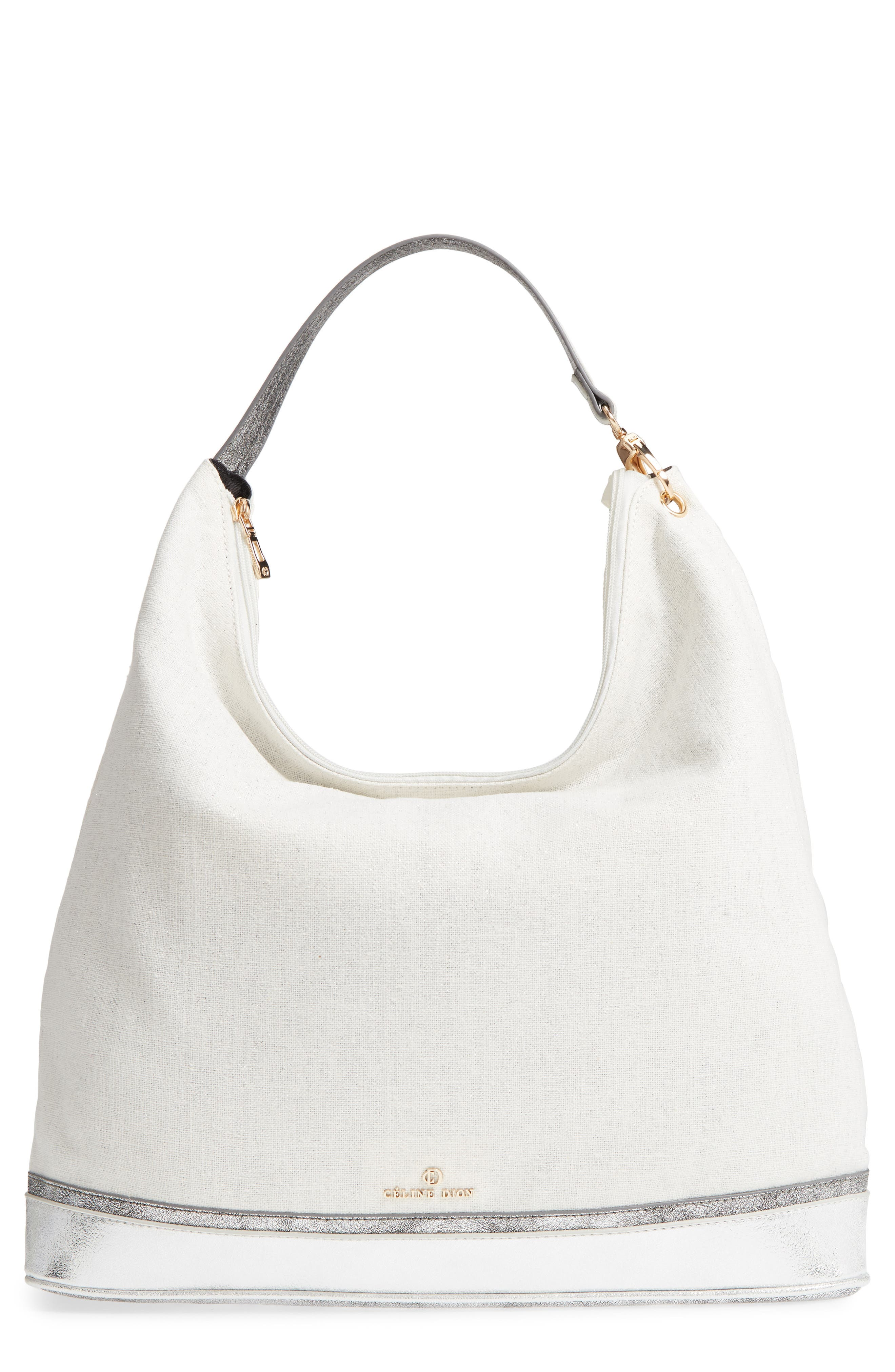 Céline Dion Softy Metallic Canvas Hobo,                         Main,                         color, Silver