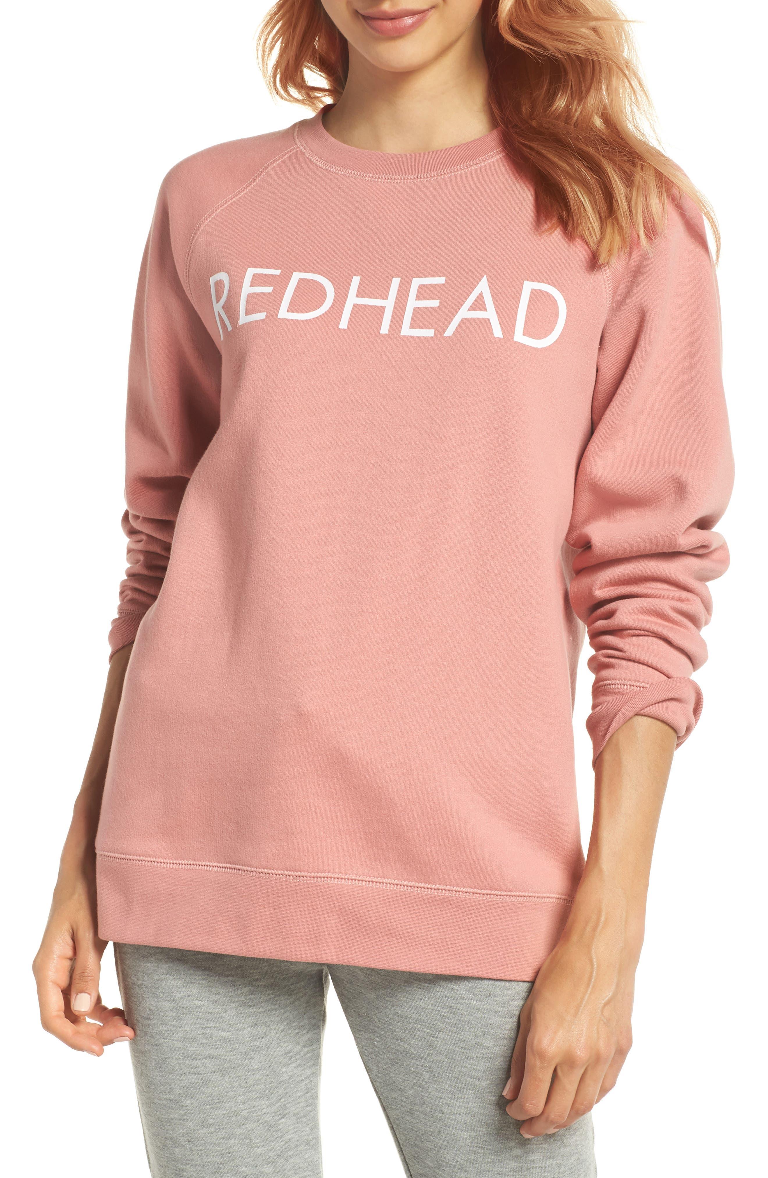Redhead Crewneck Sweatshirt,                         Main,                         color, Dusty Rose