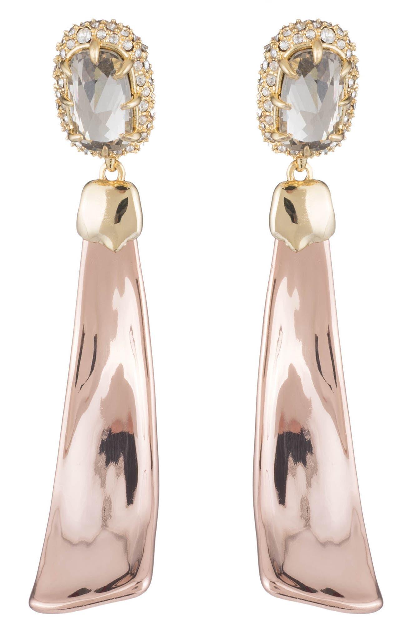 Crystal Detail Drop Earrings,                             Main thumbnail 1, color,                             Gold/ Silver