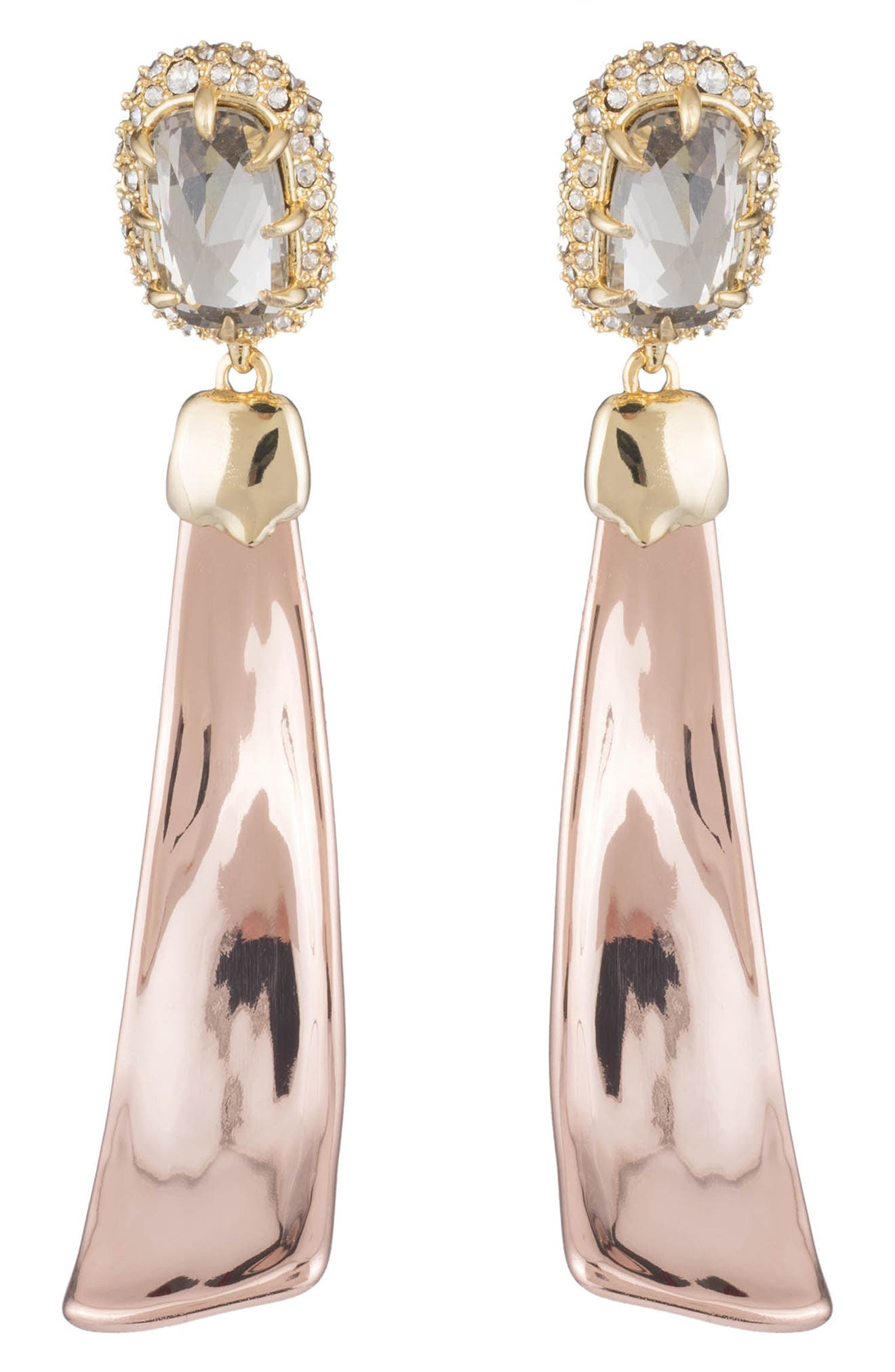 Crystal Detail Drop Earrings,                         Main,                         color, Gold/ Silver