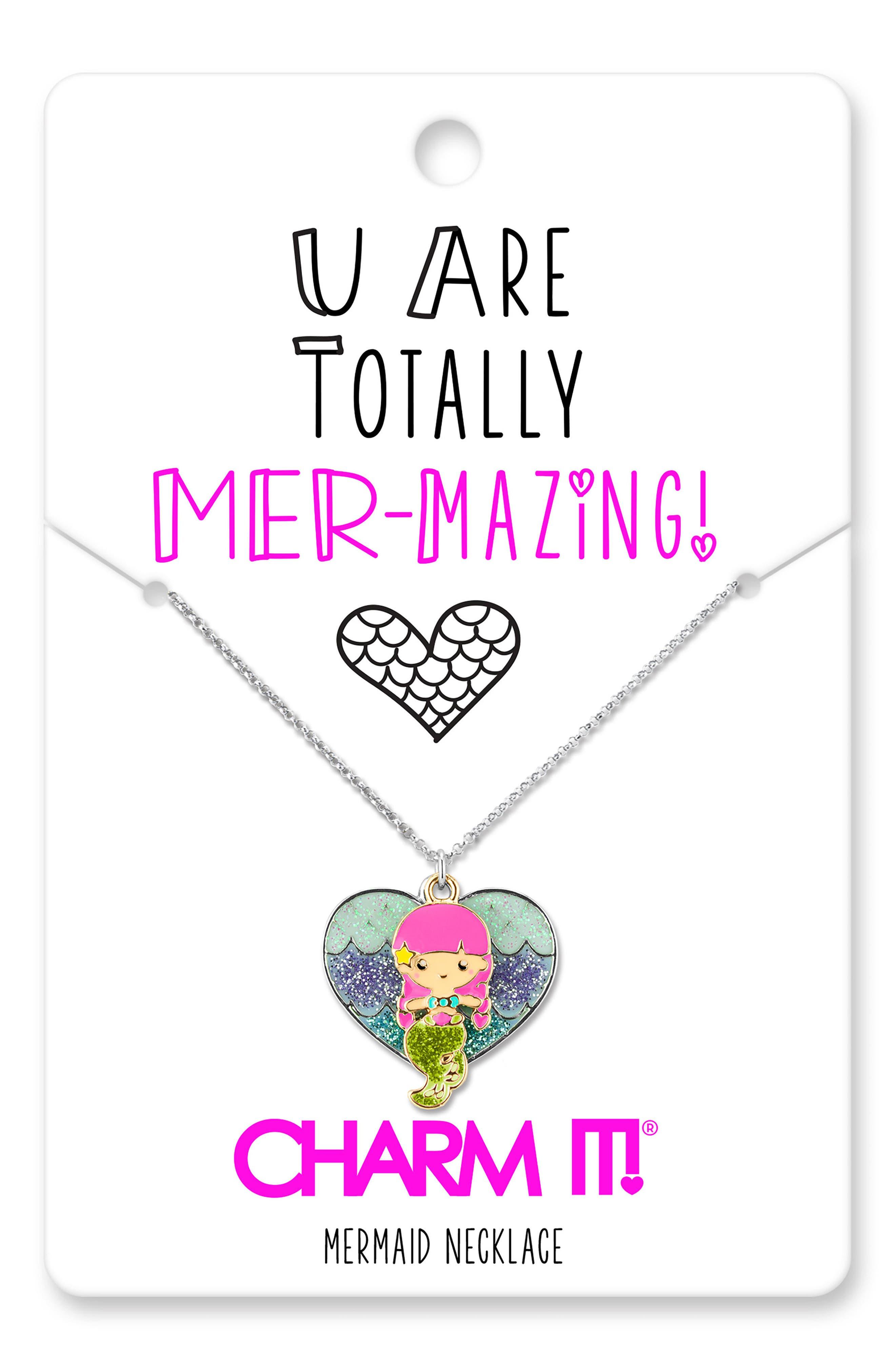 CHARM IT!<sup>®</sup> Glitter Mermaid Pendant Necklace,                             Alternate thumbnail 3, color,                             Multi